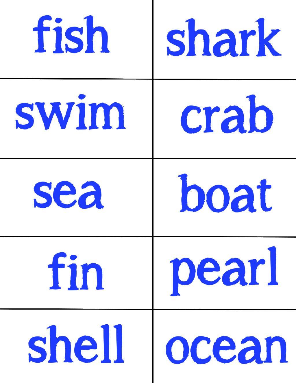 Finding Dory Spelling List
