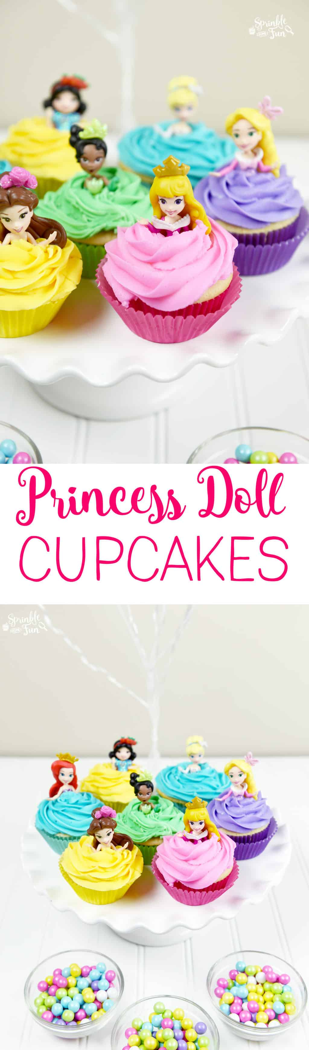 Disney Princess Doll Cupcakes are the perfect treat for any Disney princess fan and will be the hit of any Disney princess party.