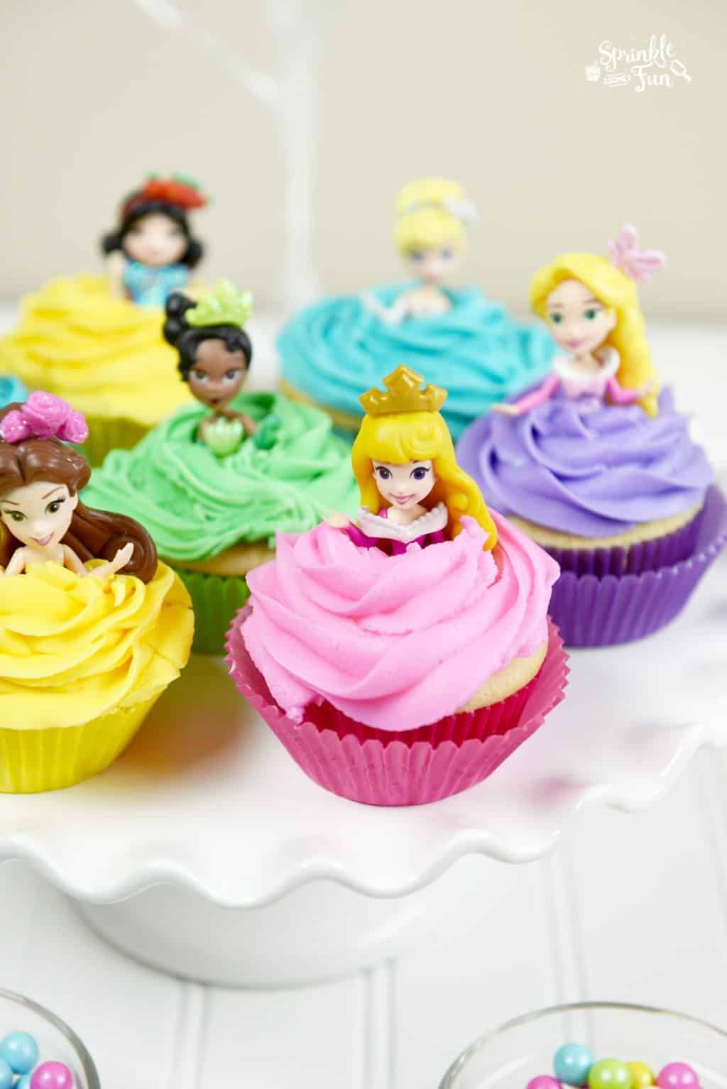 disney princess doll cupcakes   sprinkle some fun