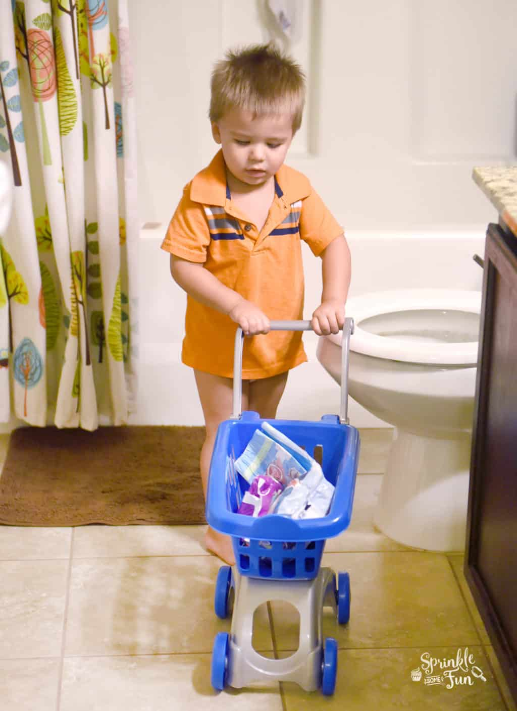 Potty Training Shopping Game.  Play a fun shopping game to teach your toddler how to use the potty and let them