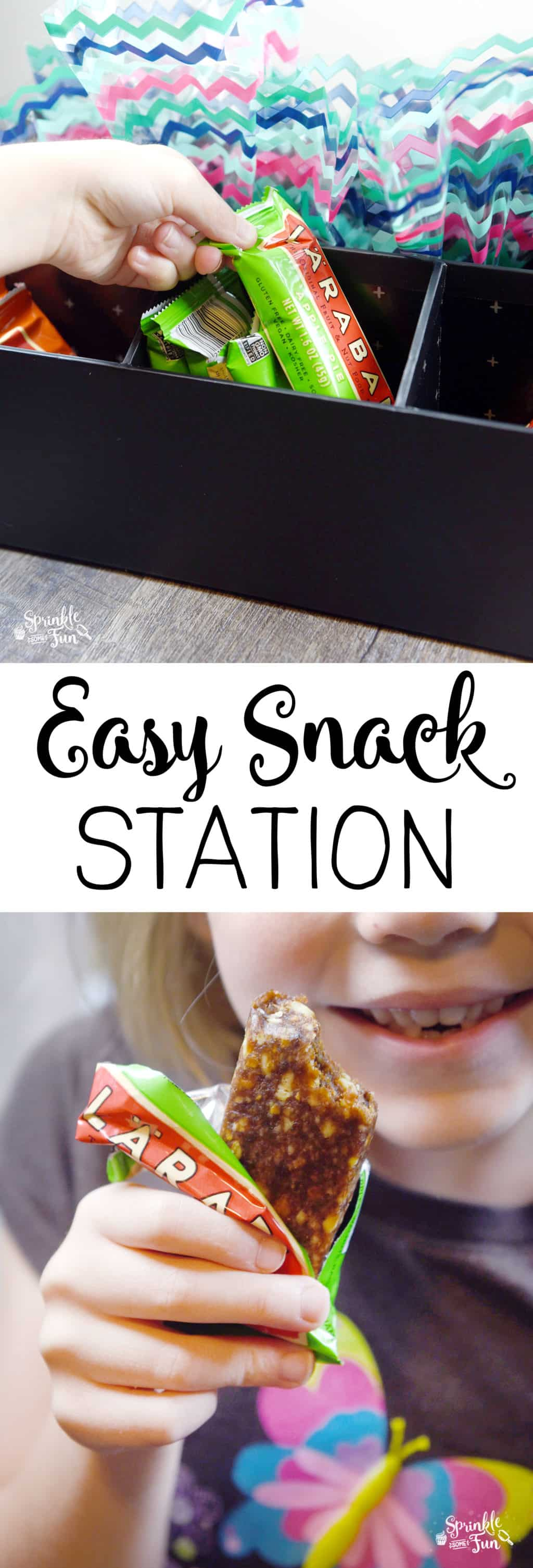I don't mind my kids having a simple snack, but I've decided that it's best to have an easy snack station so they can grab their own snacks.