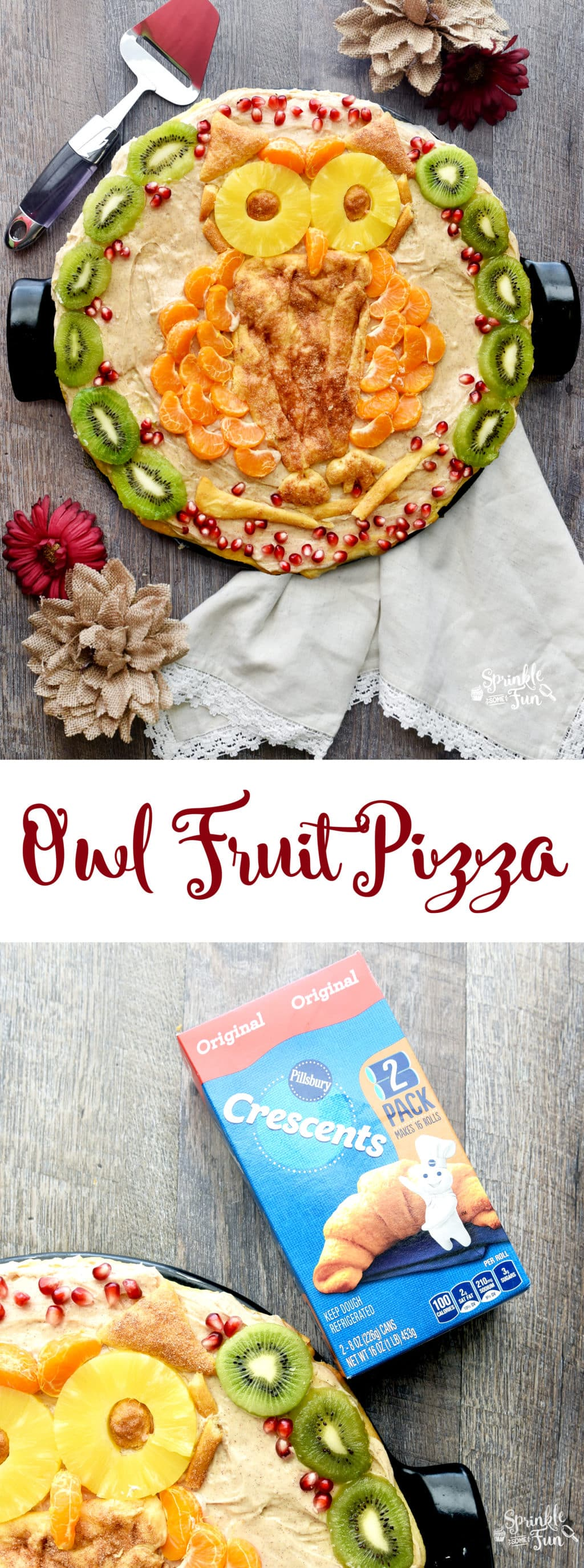 This Owl Fruit Pizza is a fun twist on the classic!  I also added some cinnamon to the mix which will be perfect for fall and winter holidays.  Isn't the owl so cute?