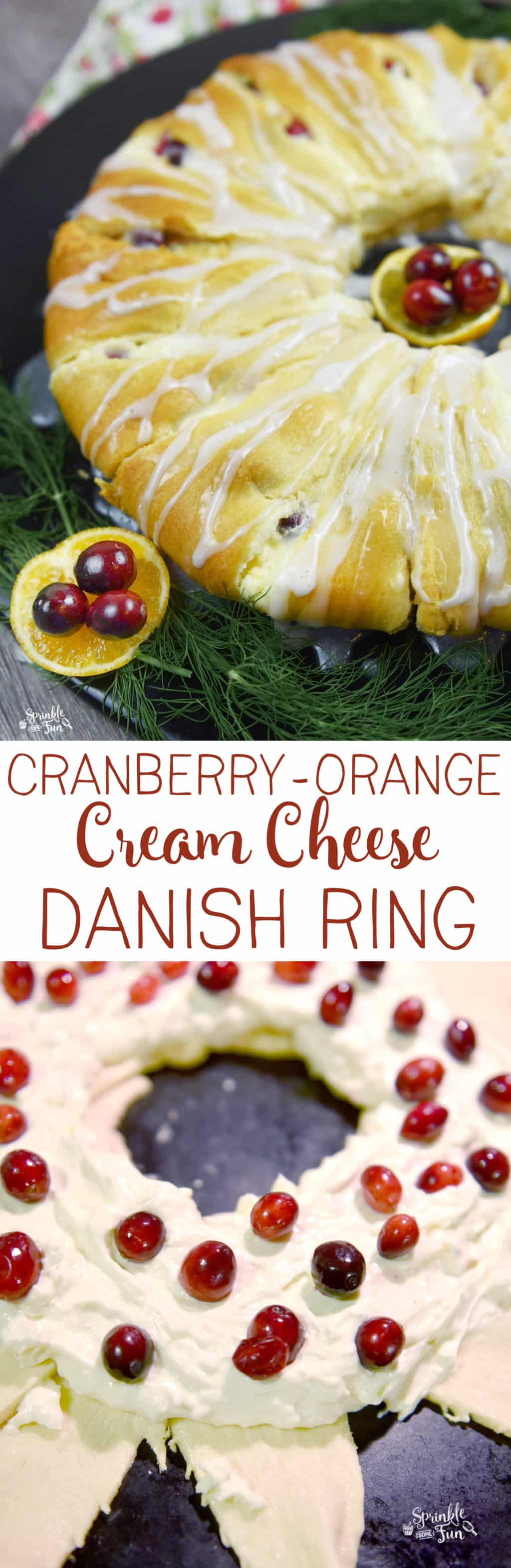 It's easy to make a Cranberry-Orange Cream Cheese Danish Ring w/ a sweet and creamy danish cheese filling inside a ring of crescent rolls!