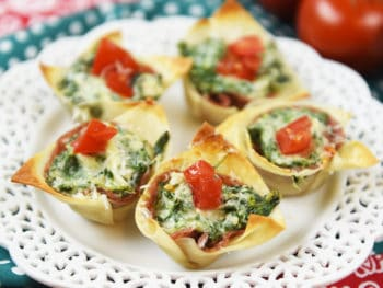 Spinach, Artichoke & Salame Wonton Bites