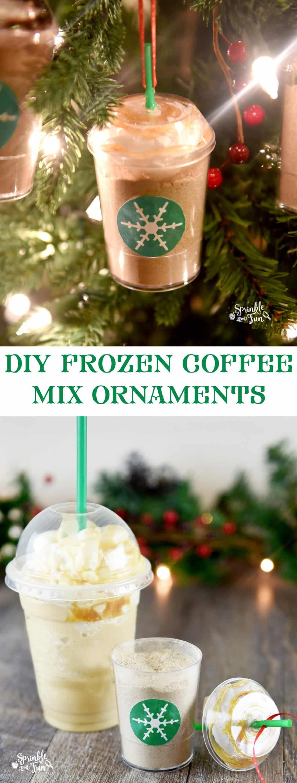 DIY Frozen Coffee Mix Ornaments are a cute Christmas gift idea for the coffee lover that is both a Christmas ornament and a yummy treat!