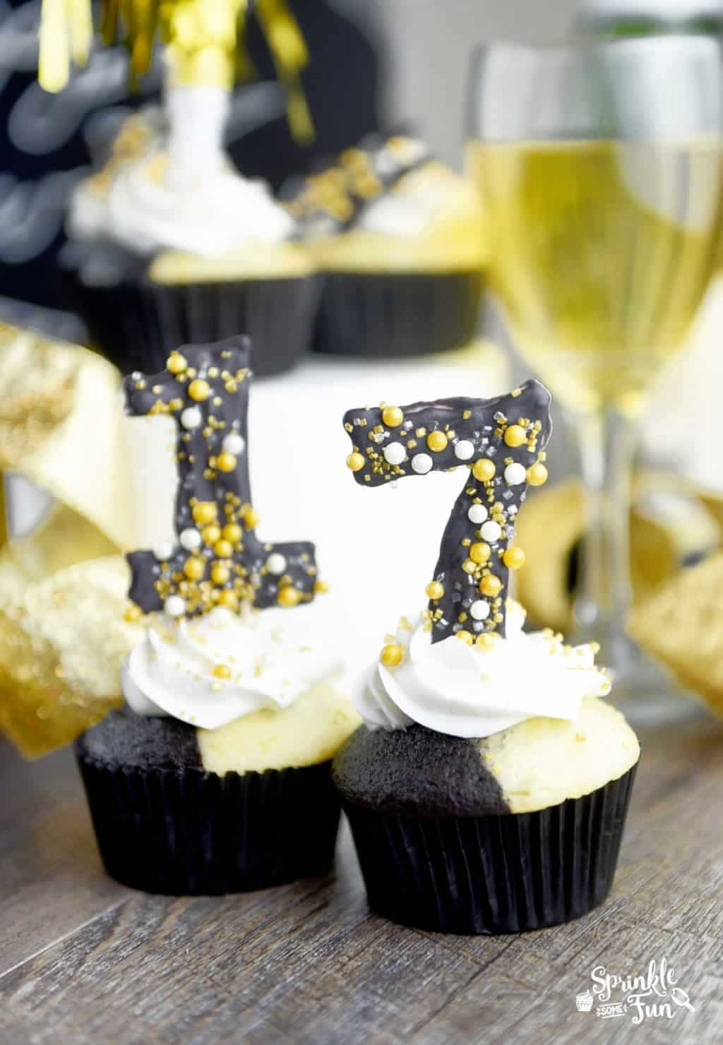 Tuxedo Cupcakes with DIY Candy Numbers for a New Years Eve Party!