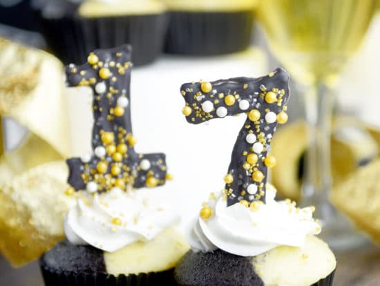 Tuxedo Cupcakes with Candy Numbers for New Years Eve
