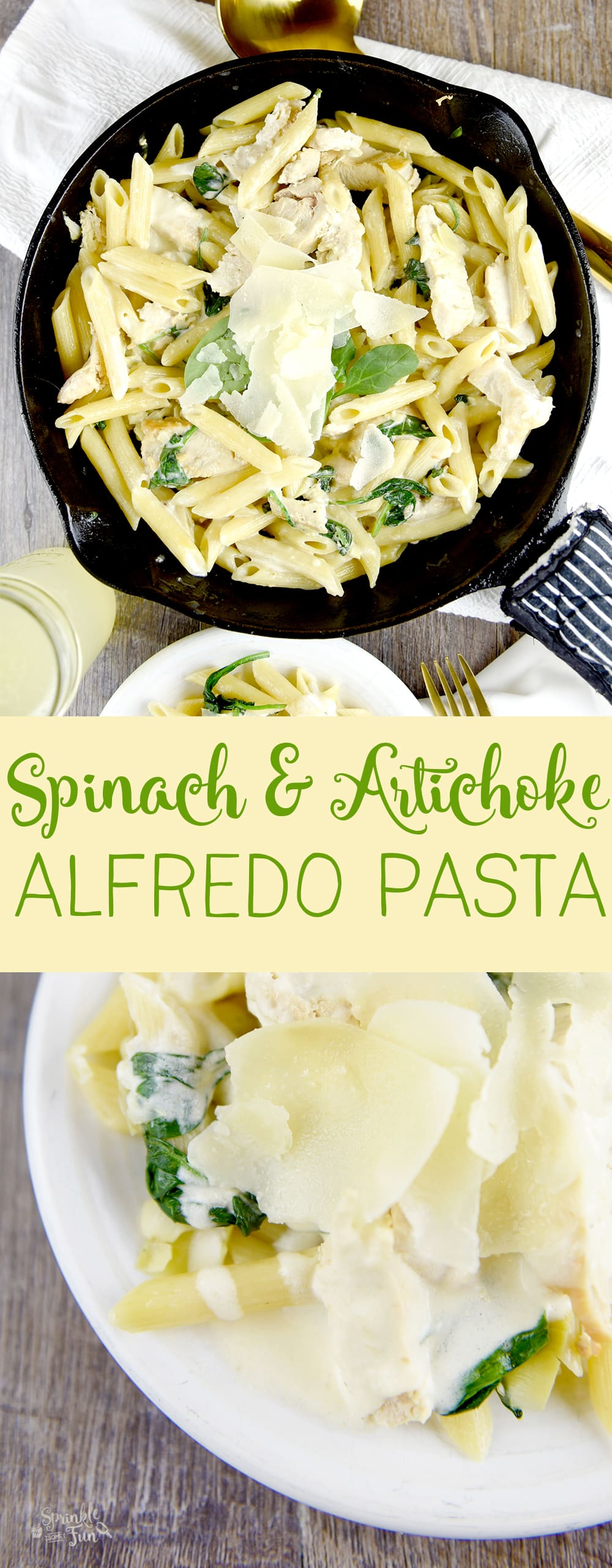 This Spinach & Artichoke Alfredo Pasta is sure to become a weeknight favorite dinner dish!  Perfect weeknight meal idea.