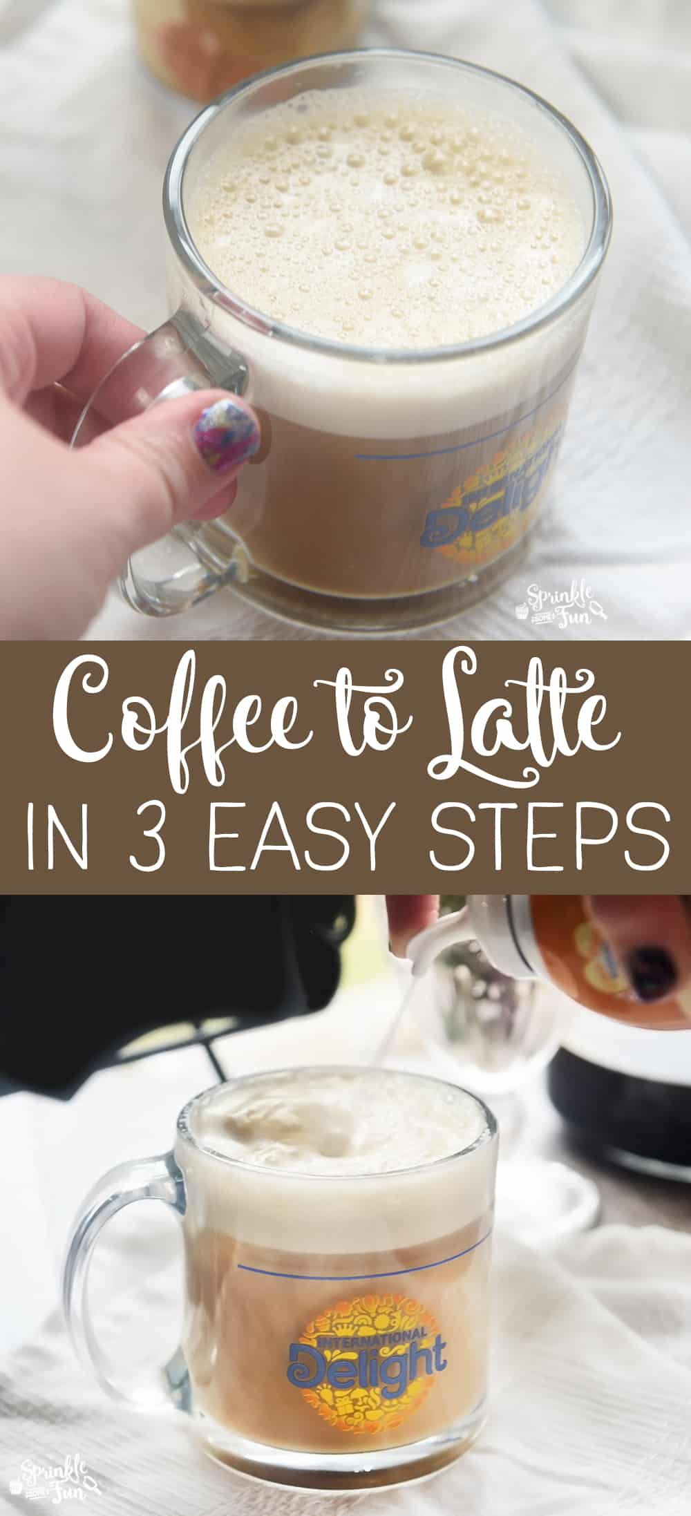 Coffee to Latte in 3 Easy Steps!   International Delight® One Touch Latte™ for a latte from home that tastes delicious!