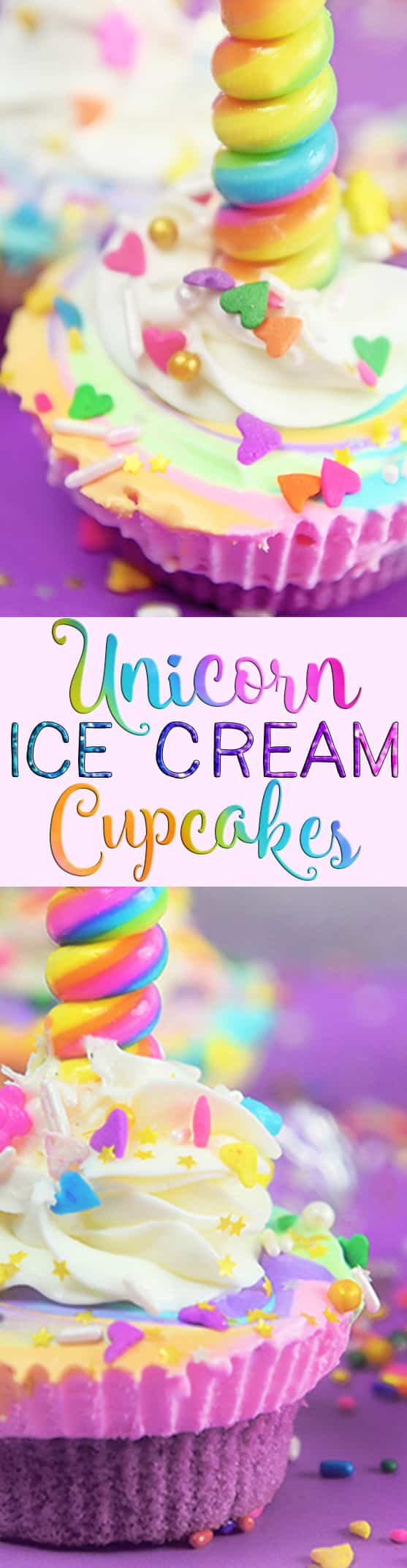 Unicorn Ice Cream Cupcakes are real and they are as magical as they sound!  Perfect for a unicorn themed party or the unicorn lover!