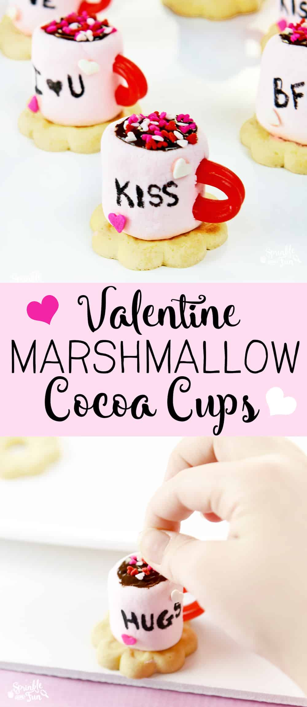 These adorable Valentine Marshmallow Cocoa Cups are sure to be a hit with the kids on Valentine's Day!