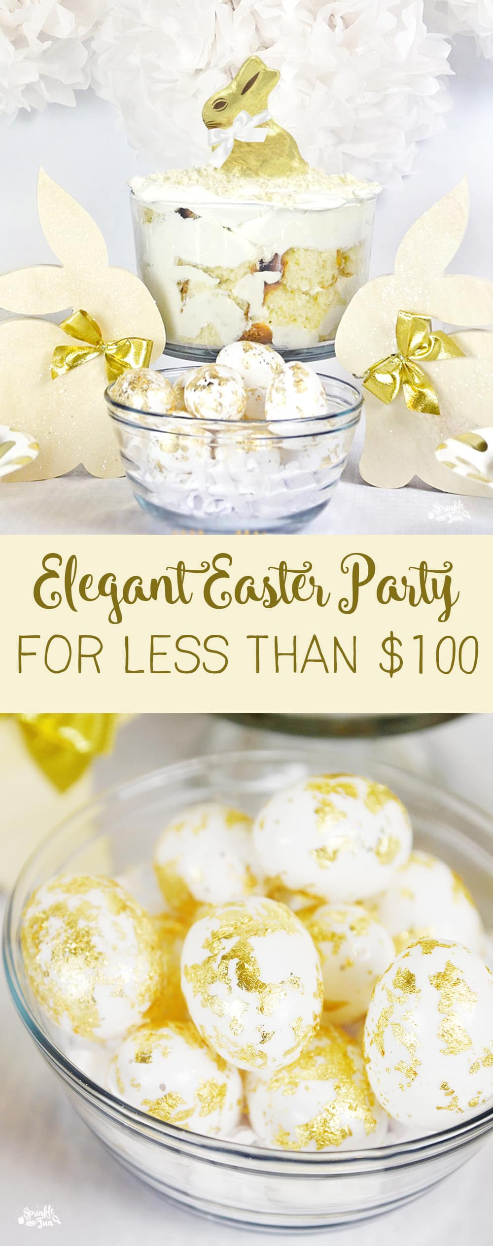 Elegant Easter Party!  A few DIY craft projects will bring your total for an Easter party well under $100.