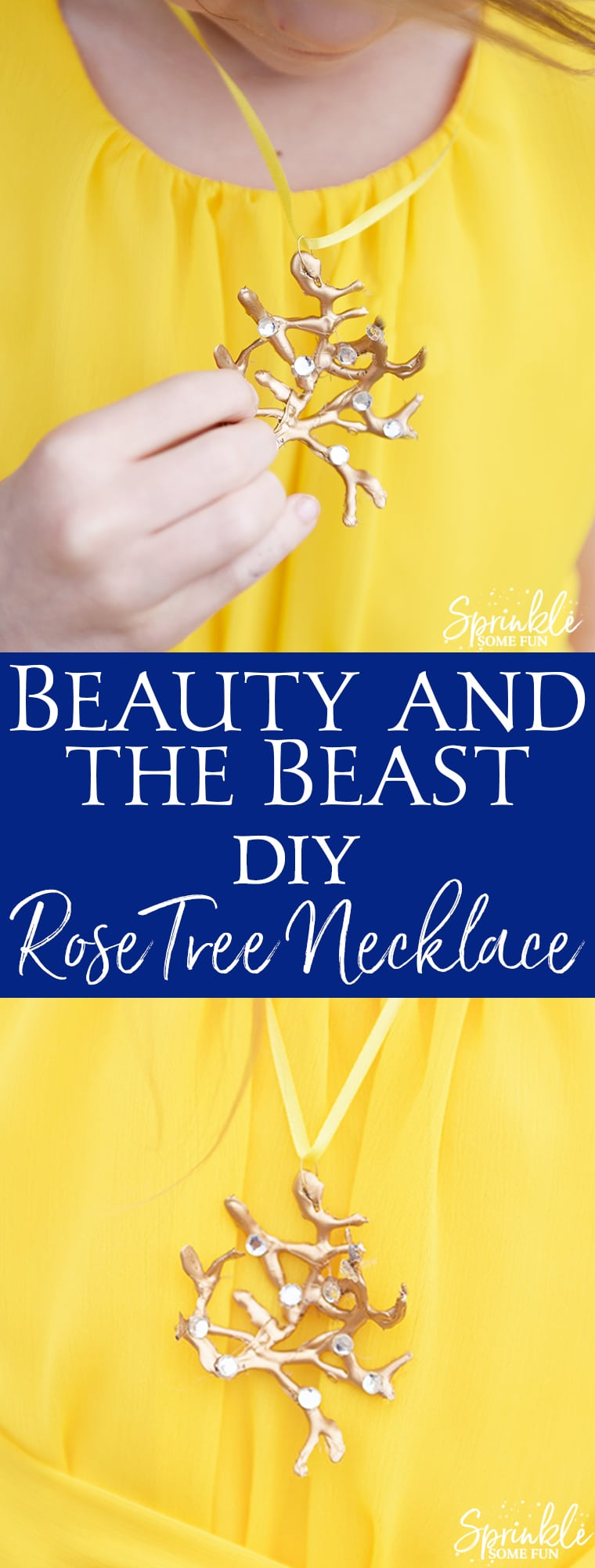 DIY Beauty and the Beast Rose Tree Necklace is just like the one Belle wears in the live action film!  Make it easy with a glue gun, spray paint and some rhinestones!