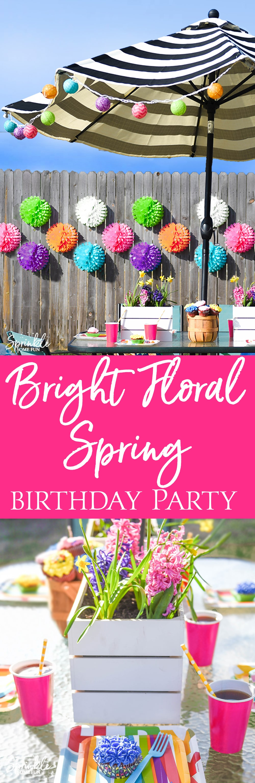 This Bright Floral Spring Birthday Party is bursting with color and floral touches!  A mix of outdoor decorations and bright party supplies is a great way to celebrate outdoors.