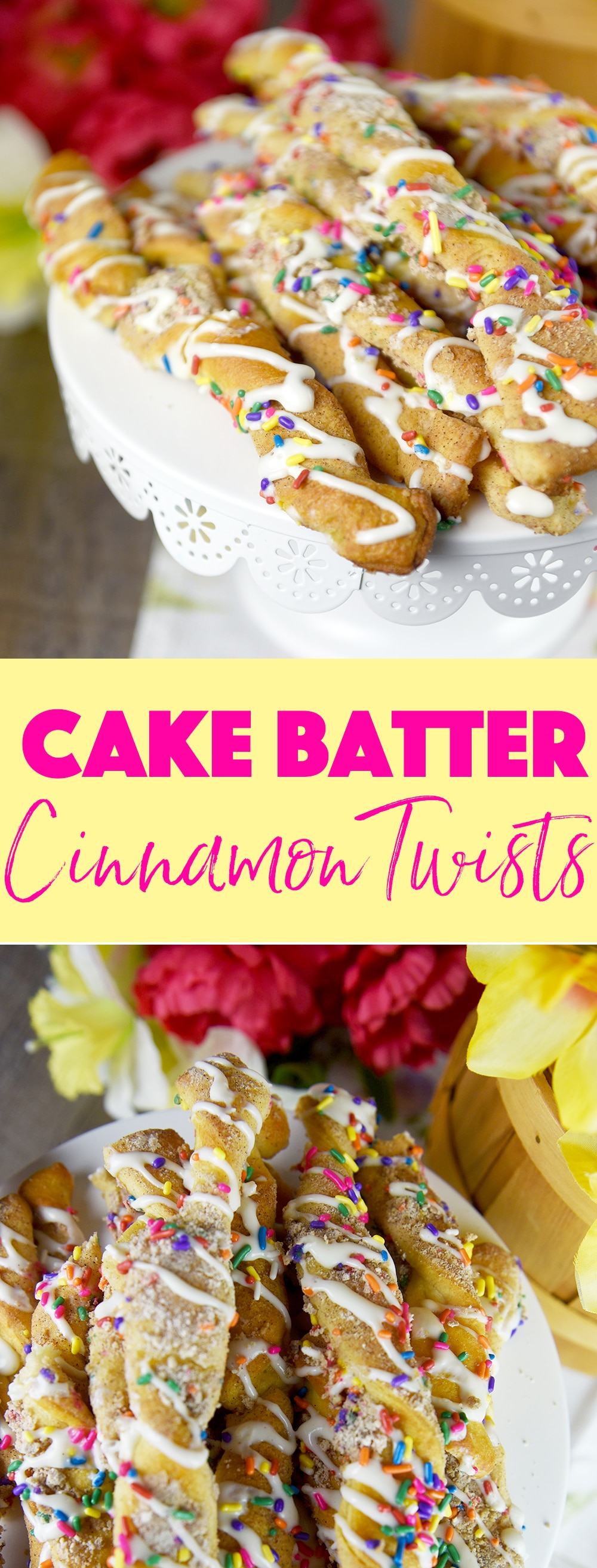 These Cake Batter Cinnamon Twists are super easy to make and are perfect for any springtime occasion.