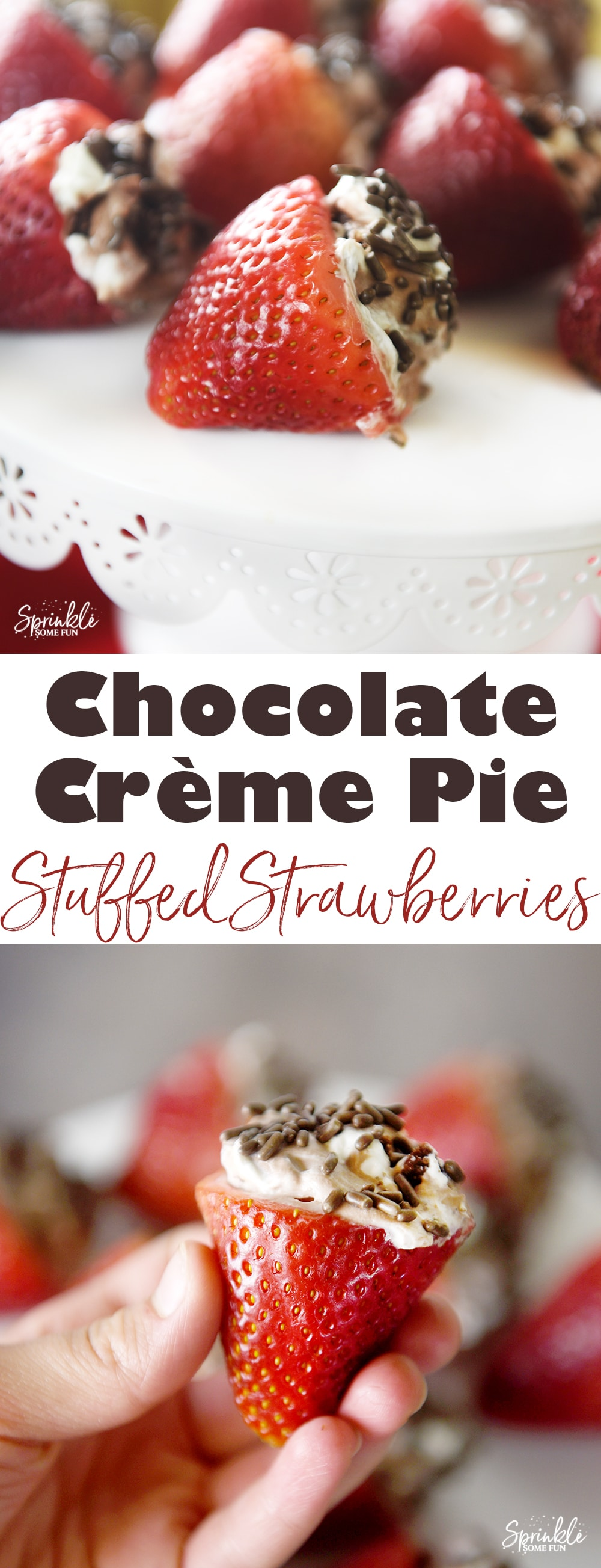 Chocolate Crème Pie Stuffed Strawberries are filled with a delicious Edwards Hershey Crème Pie and then sprinkled. You will LOVE this easy chocolate strawberry dessert!