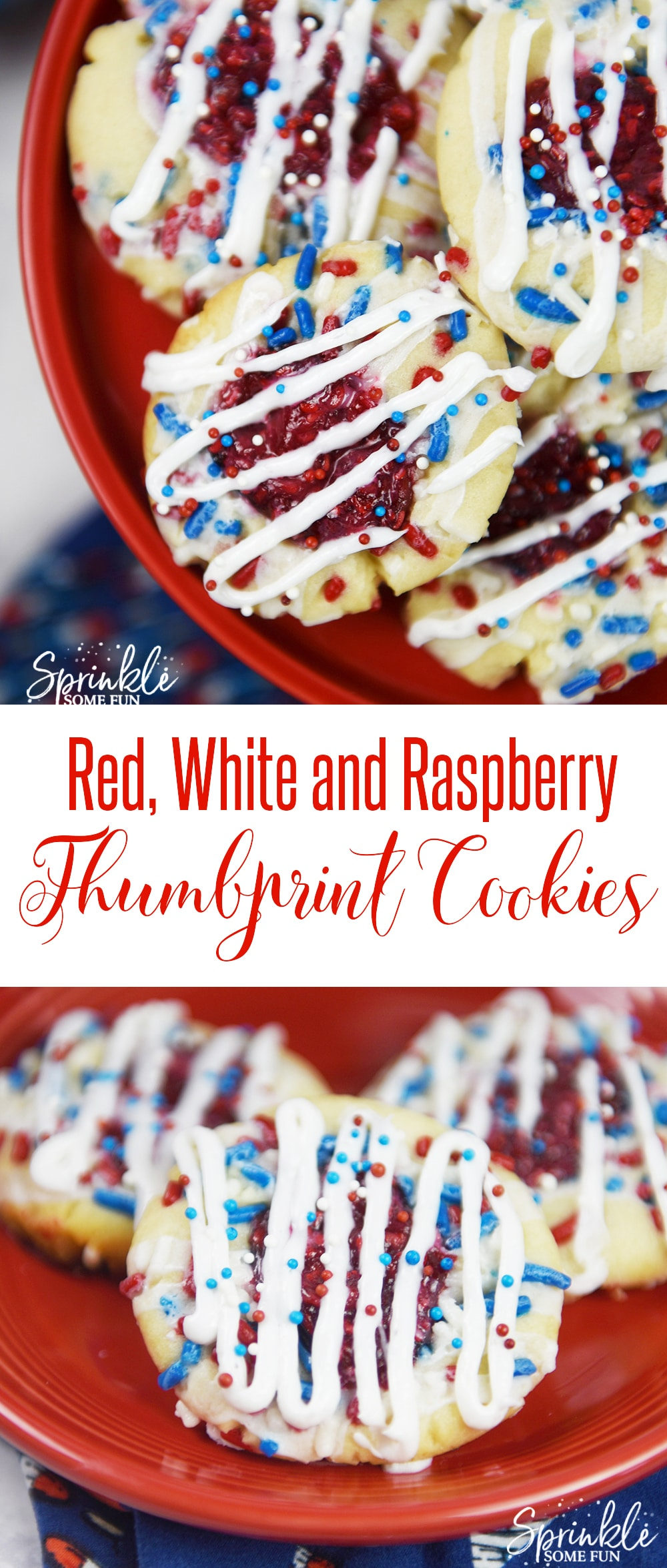 These Red, White, and Raspberry Thumbprint Cookies are a new favorite treat of ours because they are both sweet and tangy! #dessert #cookies #americanholiday #4ofjuly #redwhiteandblue #raspberries #thumbprintcookies #sweets