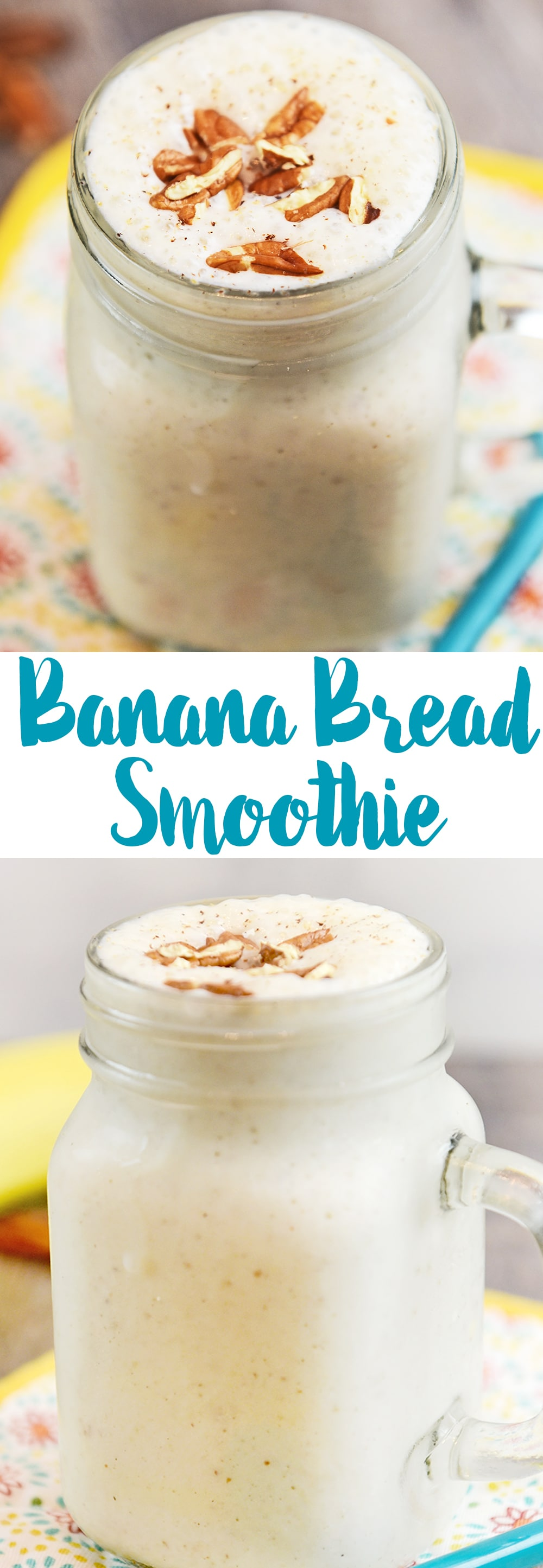 A Banana Bread Smoothie is a simple and nutritious breakfast idea. I combine yummy banana bread ingredients like bananas, cinnamon and nutmeg with milk and yogurt. Smoothies made with milk are quick, simple, nutrient-rich, protein-packed, and portable—for even the pickiest of eaters in your house.