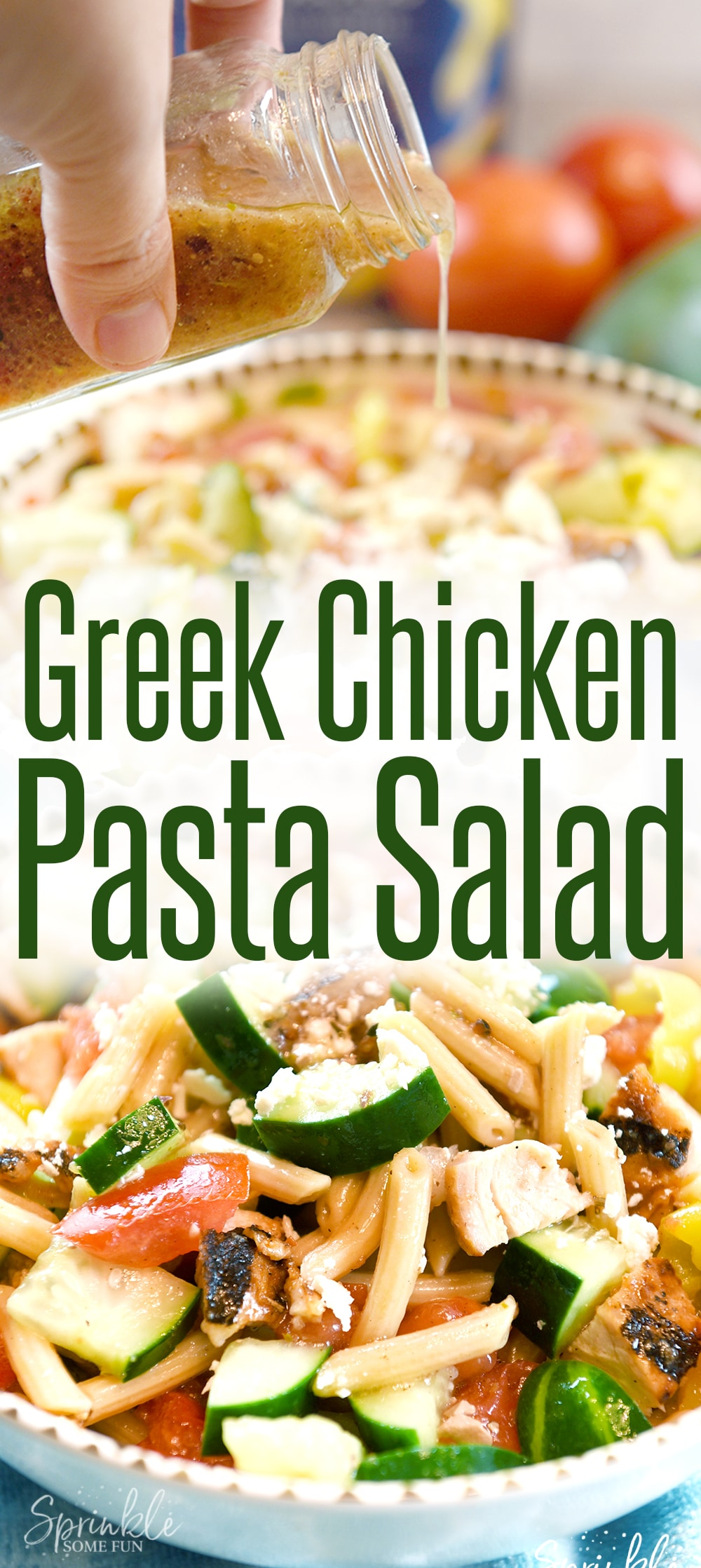 A beautiful and tasty Greek Chicken Pasta Salad made in around 1o minutes! The flavors are bold with a great Greek inspired taste.