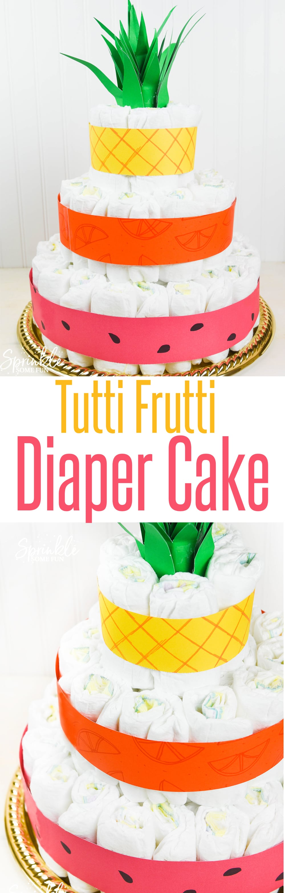 This Tutti Frutti diaper cake is so cute. I love the pineapple top with pineapple, orange and watermelon layers!