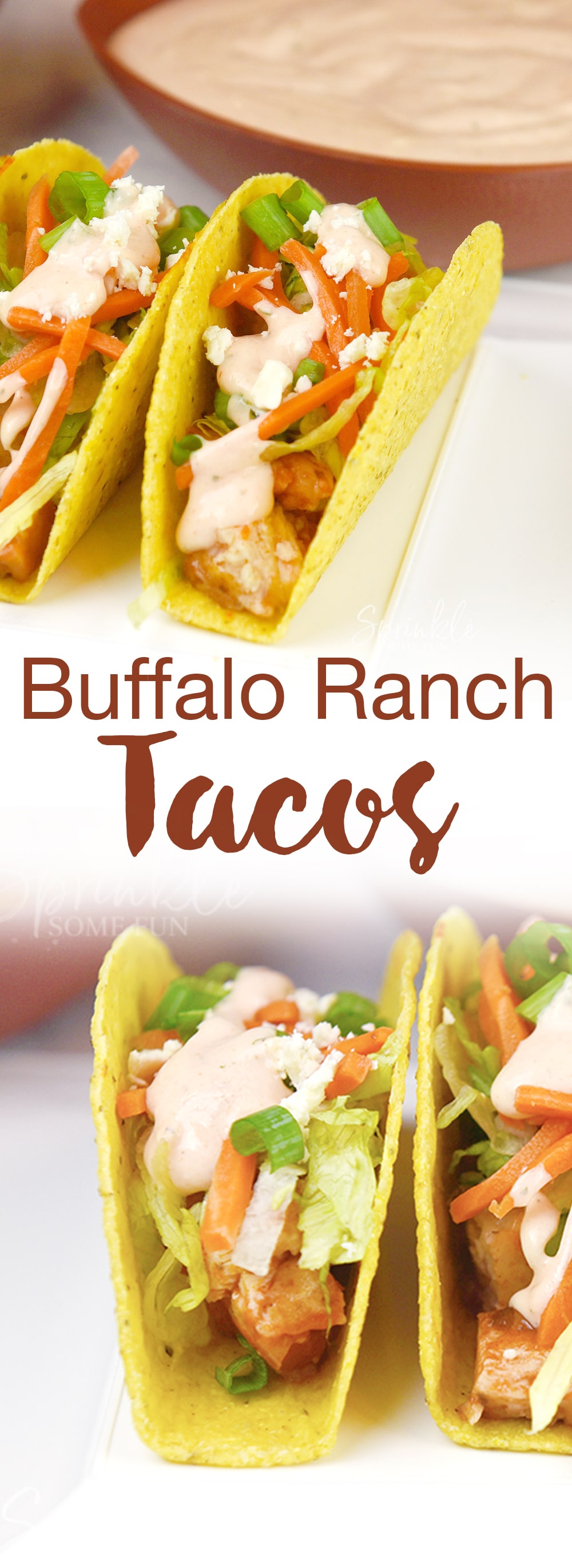 These Buffalo Ranch Chicken Tacos are inspired by Buffalo chicken wings.  The ranch gives a little coolness to the spicy hot sauce and the Old El Paso Stand 'n Stuff Taco Shells make it so easy to fill them up.
