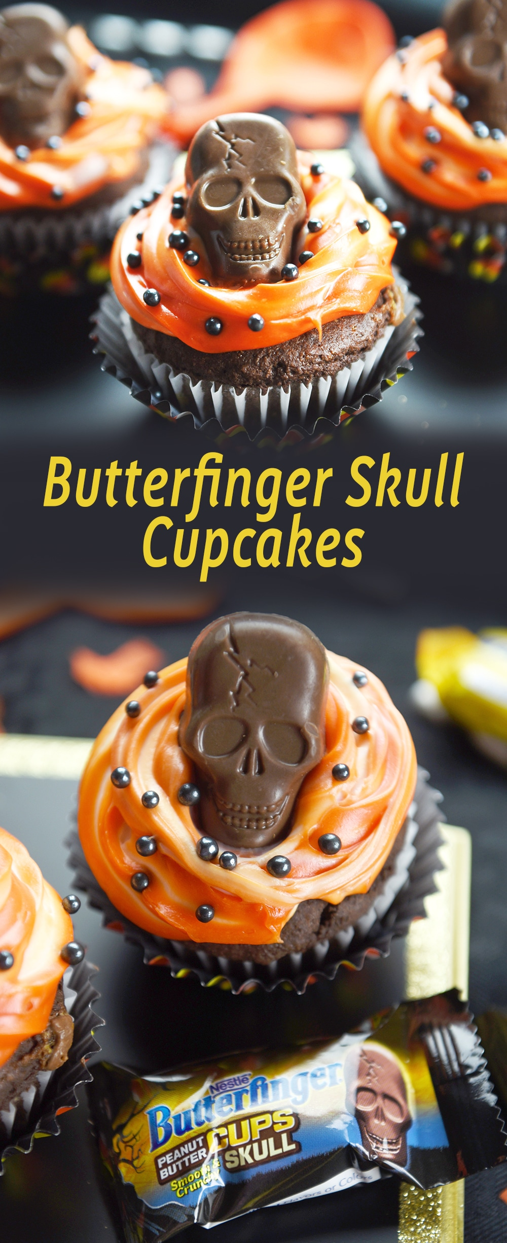 TheseButterfinger Skull Cupcakes have a taste of Butterfinger inside and are topped with a creamy Butterfinger Peanut Butter Skull Cups!