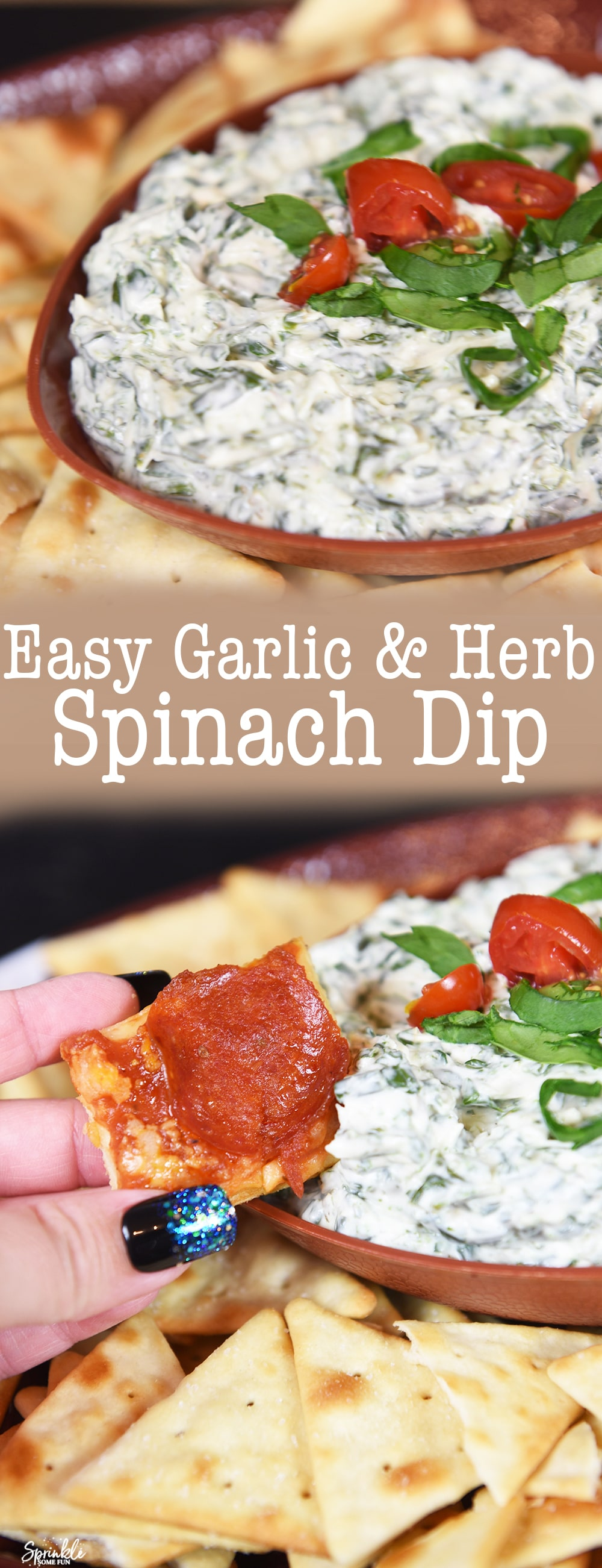 Easy Garlic & Herb Spinach Dip made in 10 minutes!