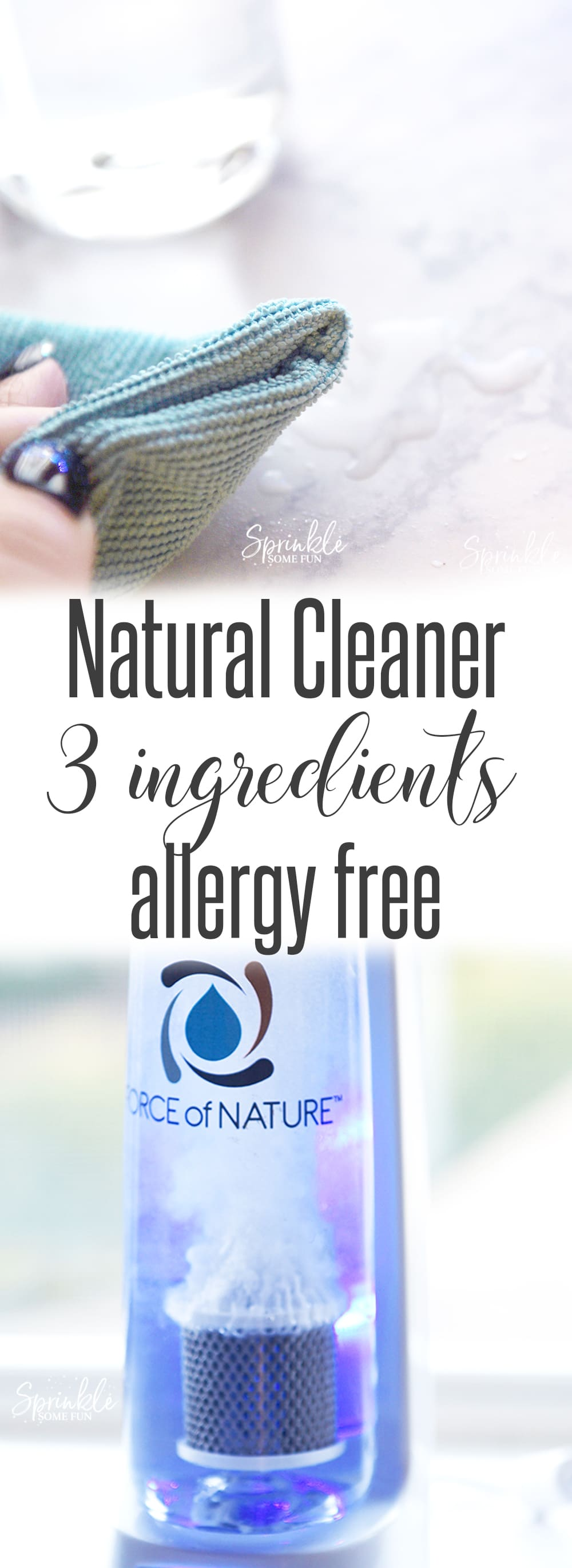 Force of Nature Cleaner is safe around kids and is non toxic and allergen free.  I can spray down my son's highchair and he can eat from it right away.