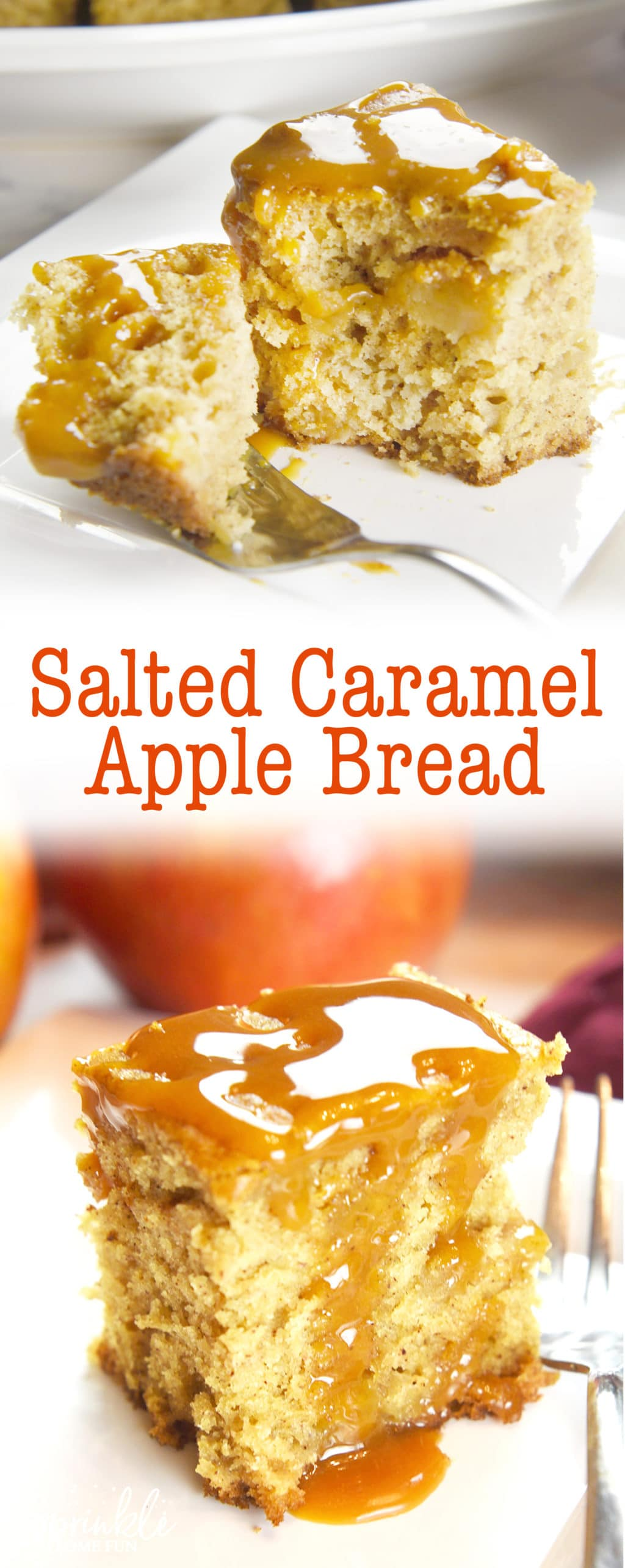Salted Caramel Apple Bread is a spiced bread with a salty-sweet touch of caramel on top.  This bread pairs deliciously with a warm cup of tea!