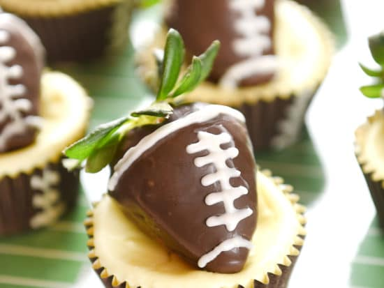 Football Strawberry Cheesecakes