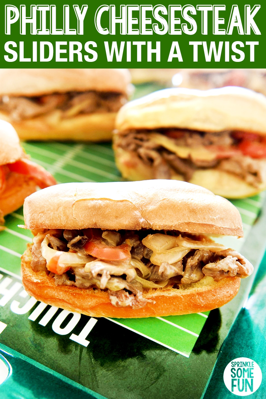I made this recipe for Philly Cheesesteak sliders with a Twist and they are amazing. These sliders are the perfect game day food or an easy weeknight meal option. We loved the