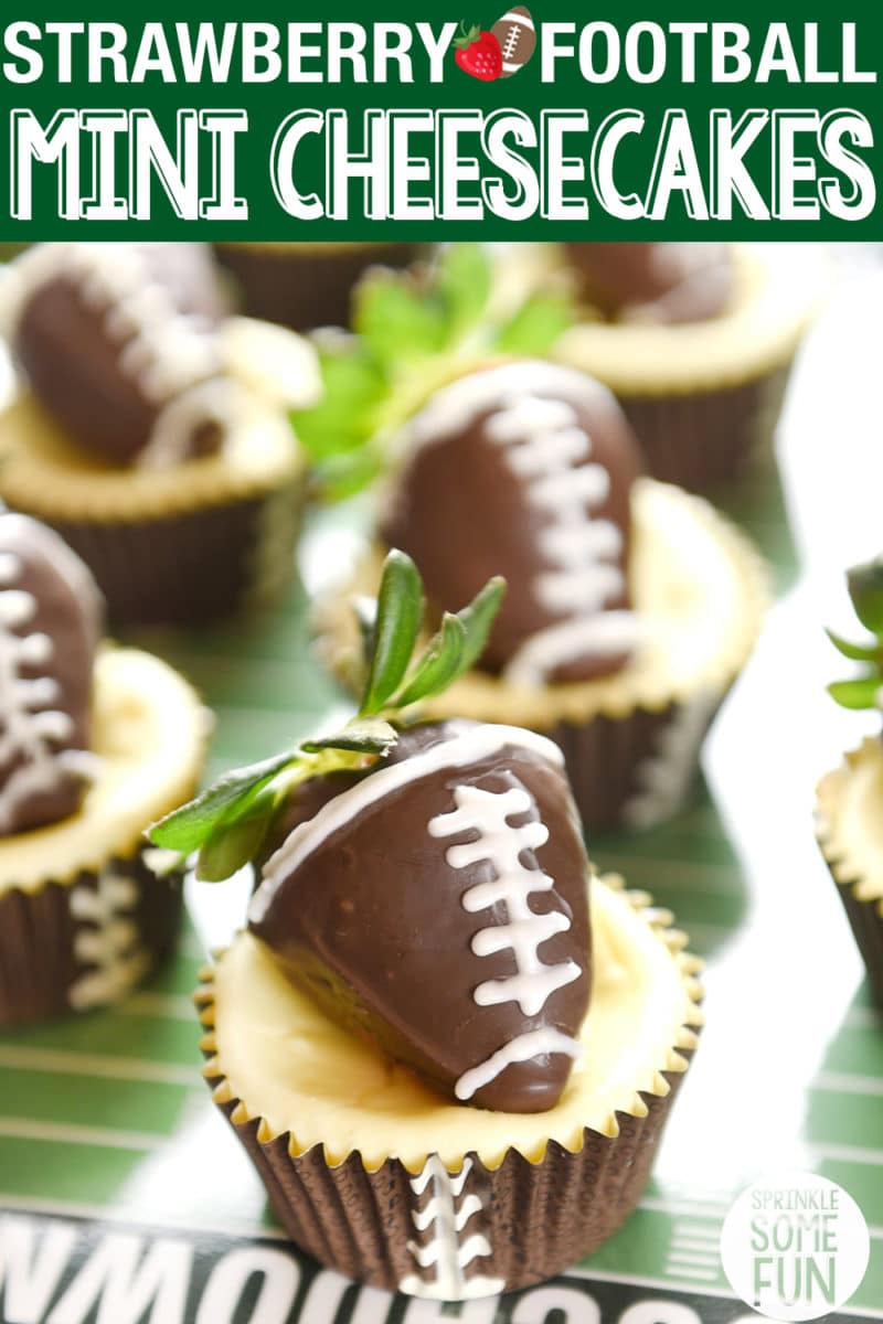 Mini cheesecakes meet chocolate dipped strawberry footballs to make the the cutest dessert on the football party table!  Football Strawberry Mini Cheesecakes recipe is so easy to make and will impress your football party guests! #minicheesecakes #footballstrawberries #footballparty #tailgating #appetizer #cheesecake #strawberries #gameday #footballparty #gamedayparty #minicheesecake #chocolatecoveredstrawberry