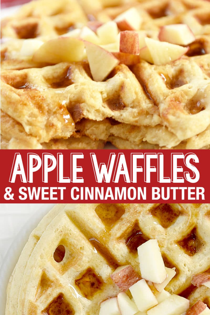 Fluffy and Light Apple Waffles have diced sweet apples and a touch of cinnamon.Top with Sweet Cinnamon Butter for an great breakfast treat! #applewaffles #apples #cinnamon #waffles #breakfast #wafflerecipe #recipe #applerecipe #cinnamonbutter