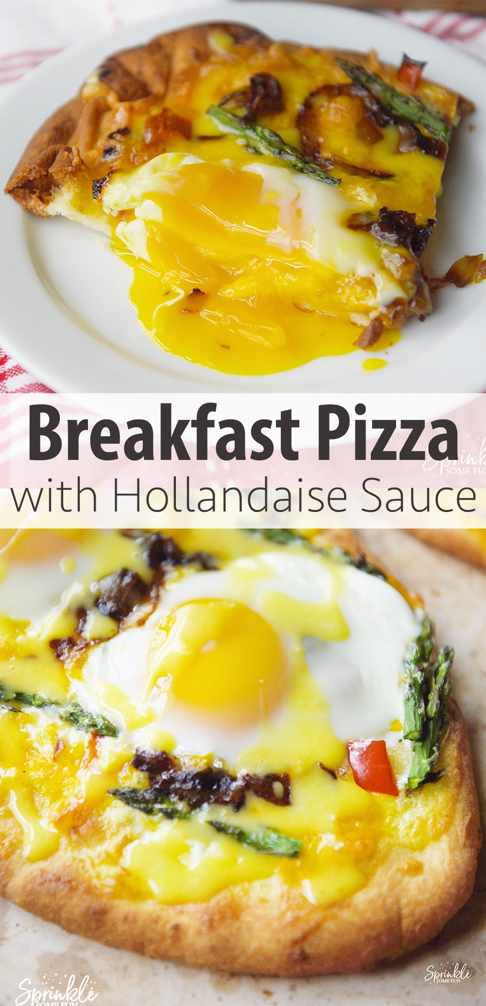 ThisBreakfast Pizza with Hollandaise Sauce is perfect as a tasty brunch idea! The creamyHollandaise sauce makes the pizza taste rich and amazing! #brunch #breakfastpizza #pizza #breakfast #lunch
