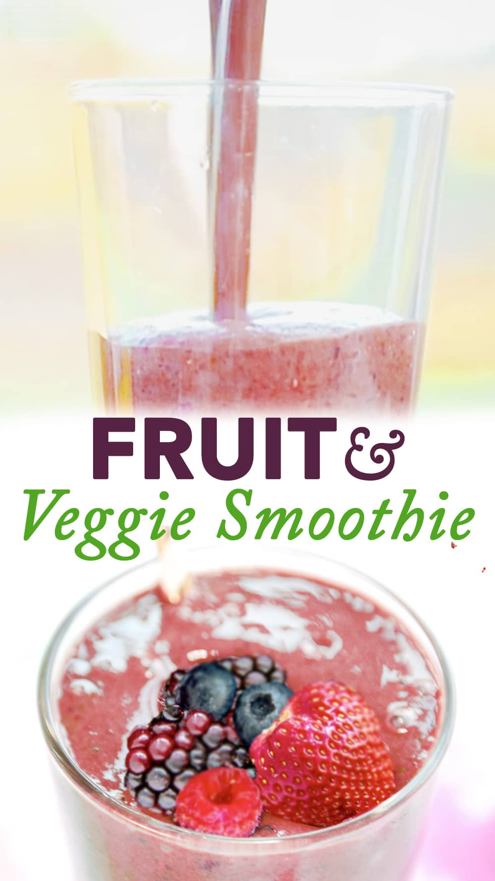 This Fruit and Veggie Smoothie has a full 7 1/2 servings of fresh fruits and vegetables. We like to make this in the morning for energy! #fresh #smoothie #fruitandveggiesmoothie #fruit #veggie #spinach #berries #banana #yogurt #kefir #chiaseeds #fruitandvegetablesmoothie #vegetable #veggies #greensmoothie #berrygreensmoothie