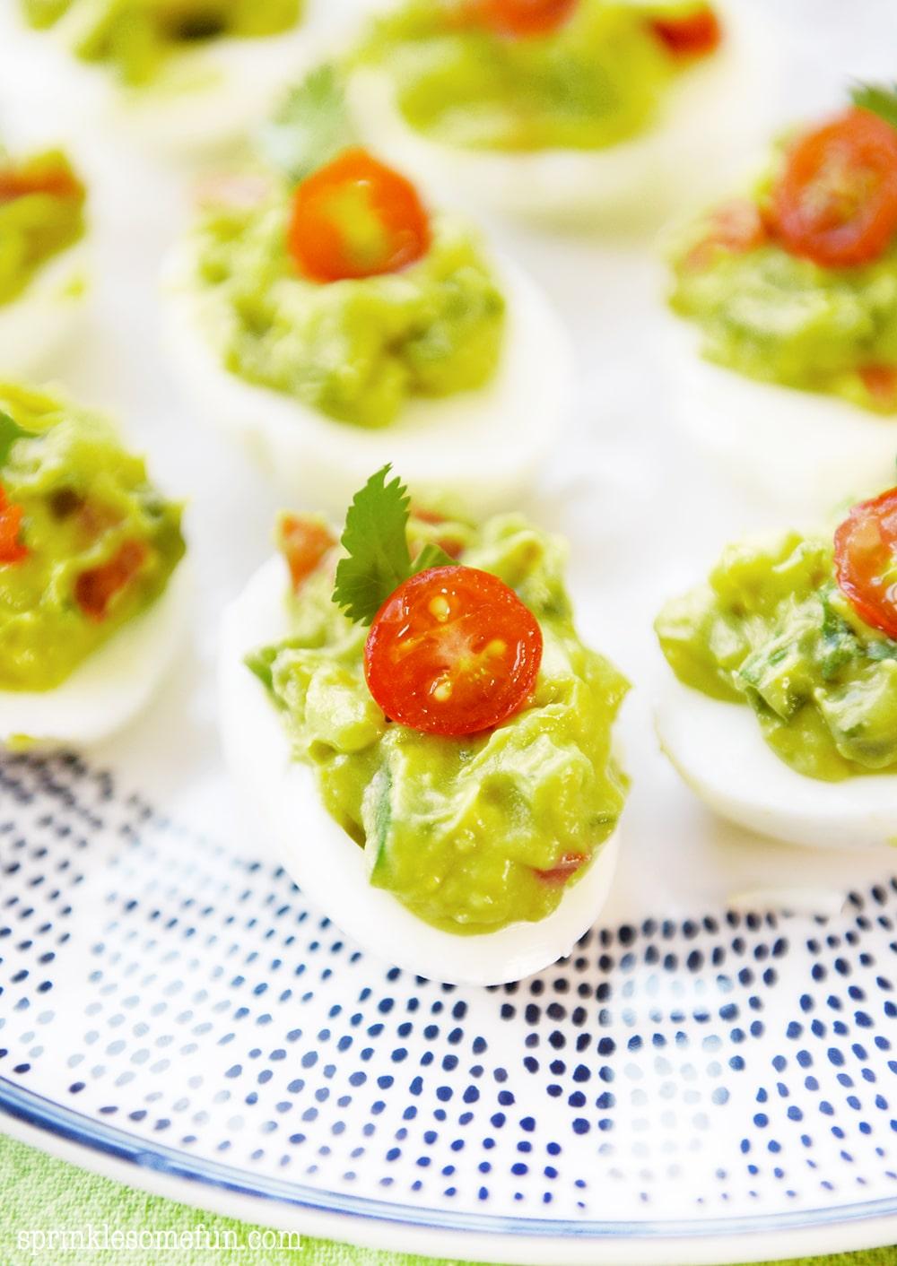 Guacamole deviled eggs are healthy, fun and tasty.