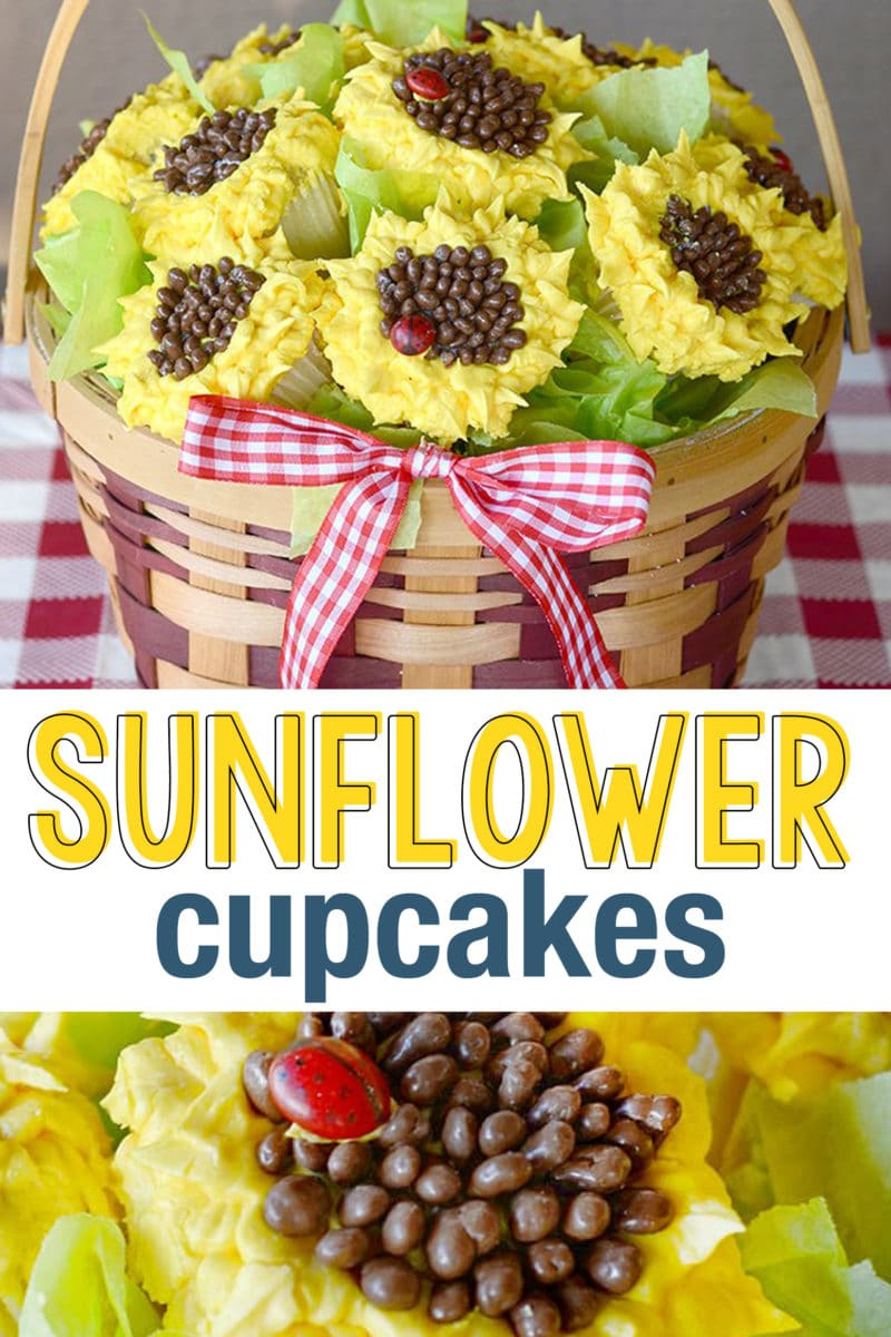Sunflower Cupcakes & Video Tutorial.  Sunflower cupcakes are so cute and perfect for a picnic or party!  These are great to put in a basket or vase for a gorgeous sunflower centerpiece. #SunflowerCupcakes #cupcakes #party #picnic #cakedecorating #cakes #cupcakebouquet #cupcakebasket #picniccupcakes #fallcupcakes #fall #summer #sunflowers #mothersday #weddingcupcakes