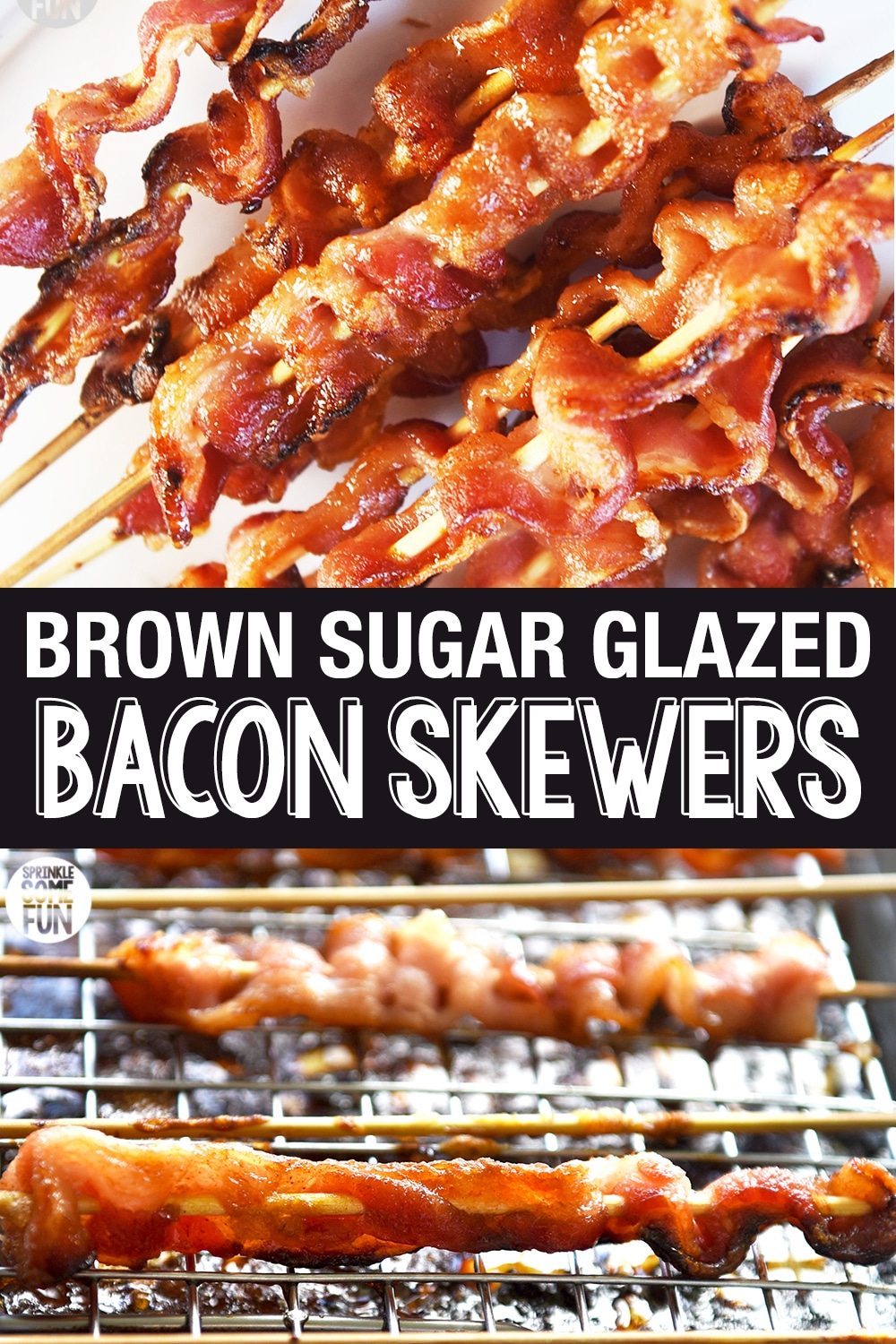 Bacon skewers are a tasty appetizer that is sure to please any bacon lover!   These are a great treat to make for holiday entertaining. Bacon skewers are perfect for serving at parties or at any meal where you want bacon (which is every meal, right?). #appetizer #baconskewer #holidayappetizer #easyappetizer #bacon #sweetbacon #baconcandy #brownsugarbacon #christmasappetizer #fallappetizer #brownsugarbaconskewer #brunch #brunchrecipe #baconrecipe #recipeswithbacon #recipe