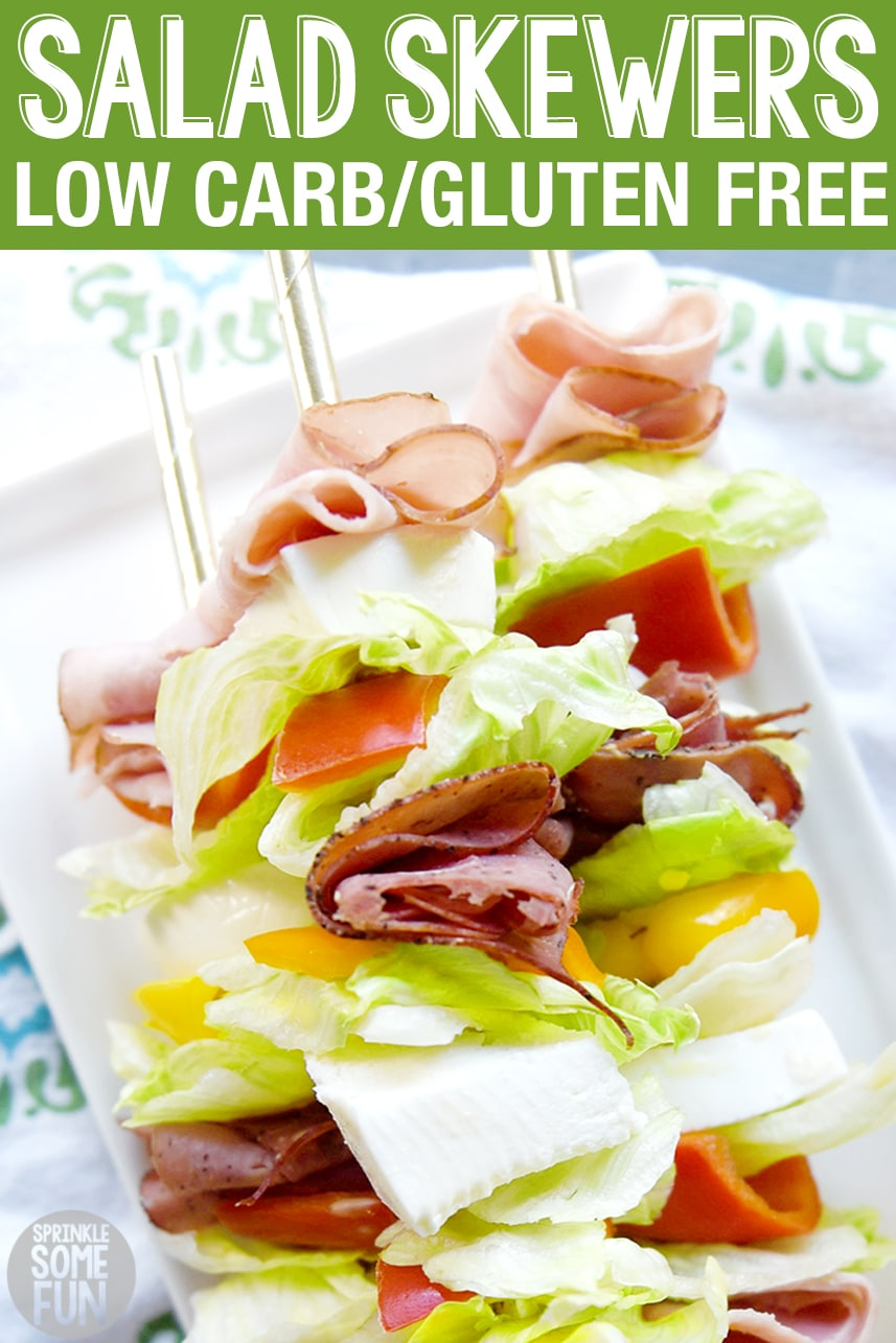 Salad Skewers are a great option for a low carb/keto diet. They also make a great sandwich replacement and are easy to dip into a yummy dressing! Salad skewers are a great appetizer for parties. We also love to make these for an easy lunchtime meal or picnic idea. #saladskewers #salad #saladonastick #lunch #snack #appetizer #picnic #skewer #partyfood