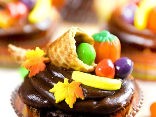 Thanksgiving Cupcakes with Cornucopia Toppers