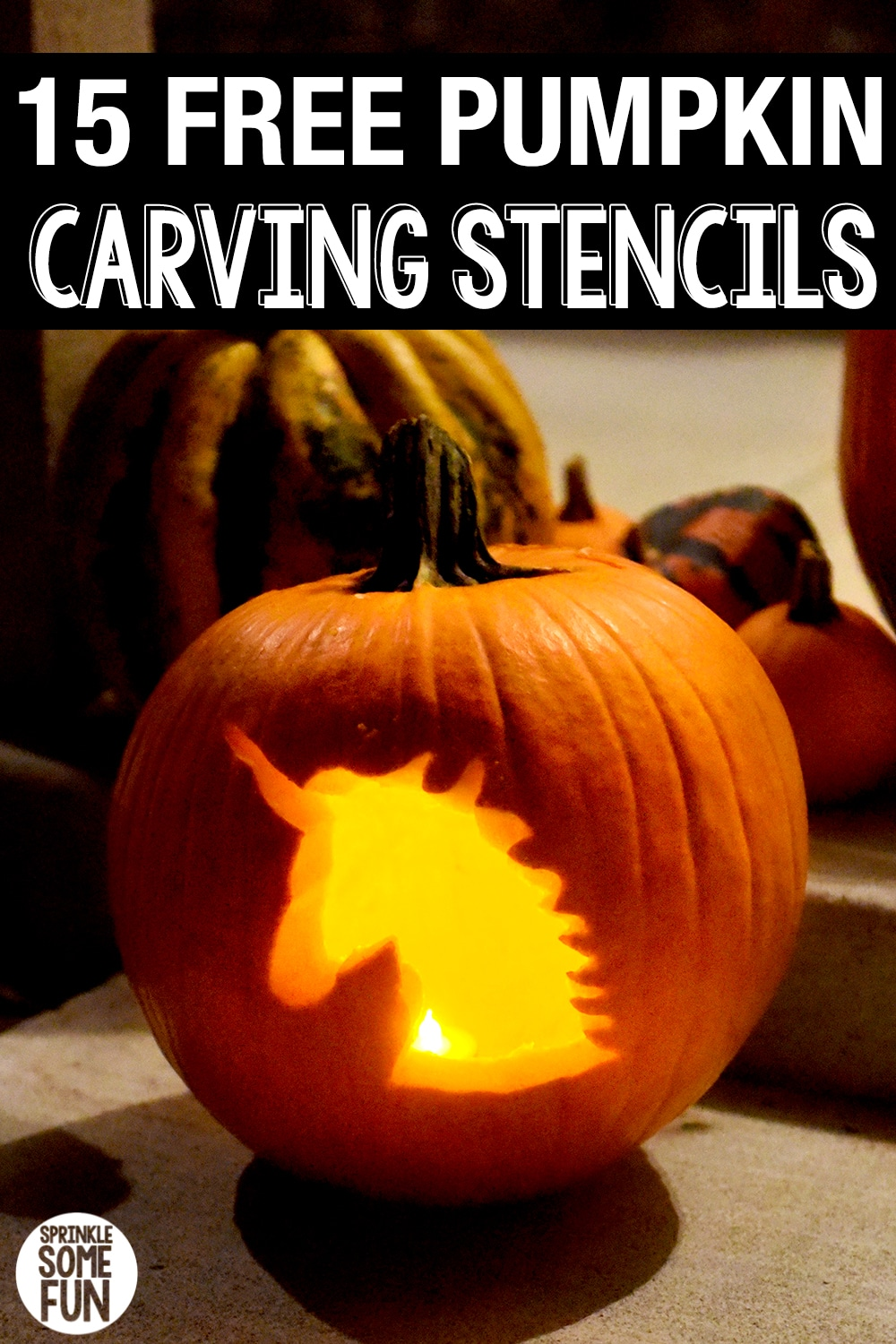 15 Free Pumpkin Carving Stencils to print with trendy emojis, unicorns, Harry Potter and traditional Halloween designs!  Plus, a How To guide to making the best designs!  #pumpkincarvingstencils #pumpkincarving #pumpkincarvingdesigns #halloween #halloweendesigns #pumpkincarvingideas #easypumpkincarving #pumpkincarvingforkids #kids #printables #stencils #halloweenporch #DIYpumpkin #pumpkincarvingpatterns #creative #template #easy
