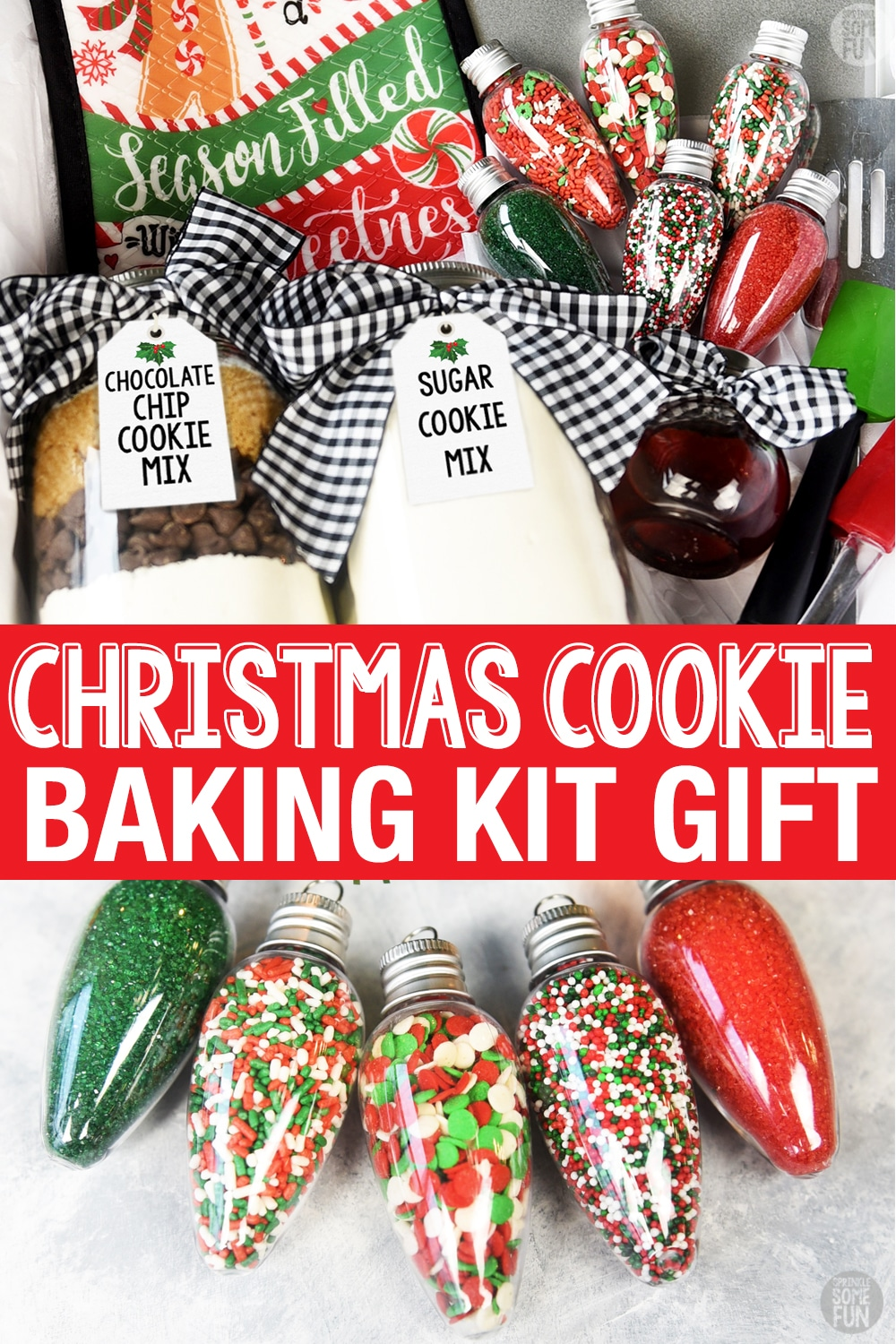 These Christmas Cookie Kits have delicious chocolate chip and sugar cookie mixes with all the tools to bake them inside. Everyone will love all the care that went into finding the ingredients and baking tools included in this baking gift. #BakingGift  #ChristmasCookieKit #ChristmasCookies #Christmasgift #HolidayBakingKit #HolidayGift #BakingGiftBasket #GiftBasket