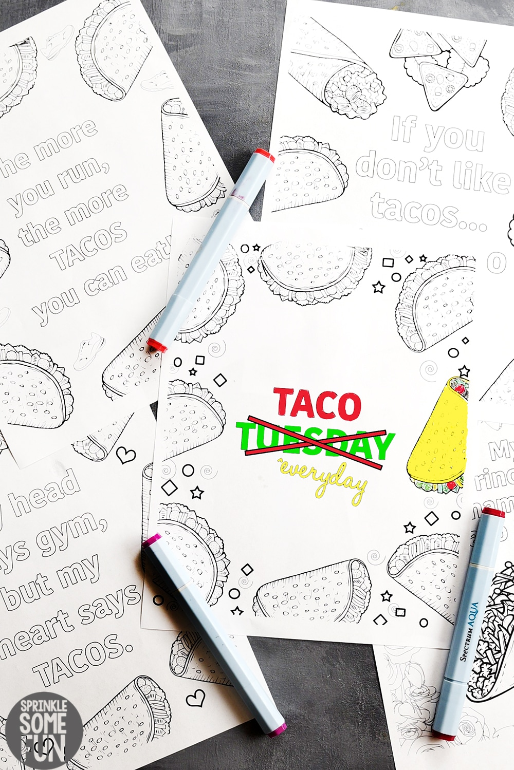 5 Free Funny Taco Quotes Coloring Pages ⋆ Sprinkle Some Fun