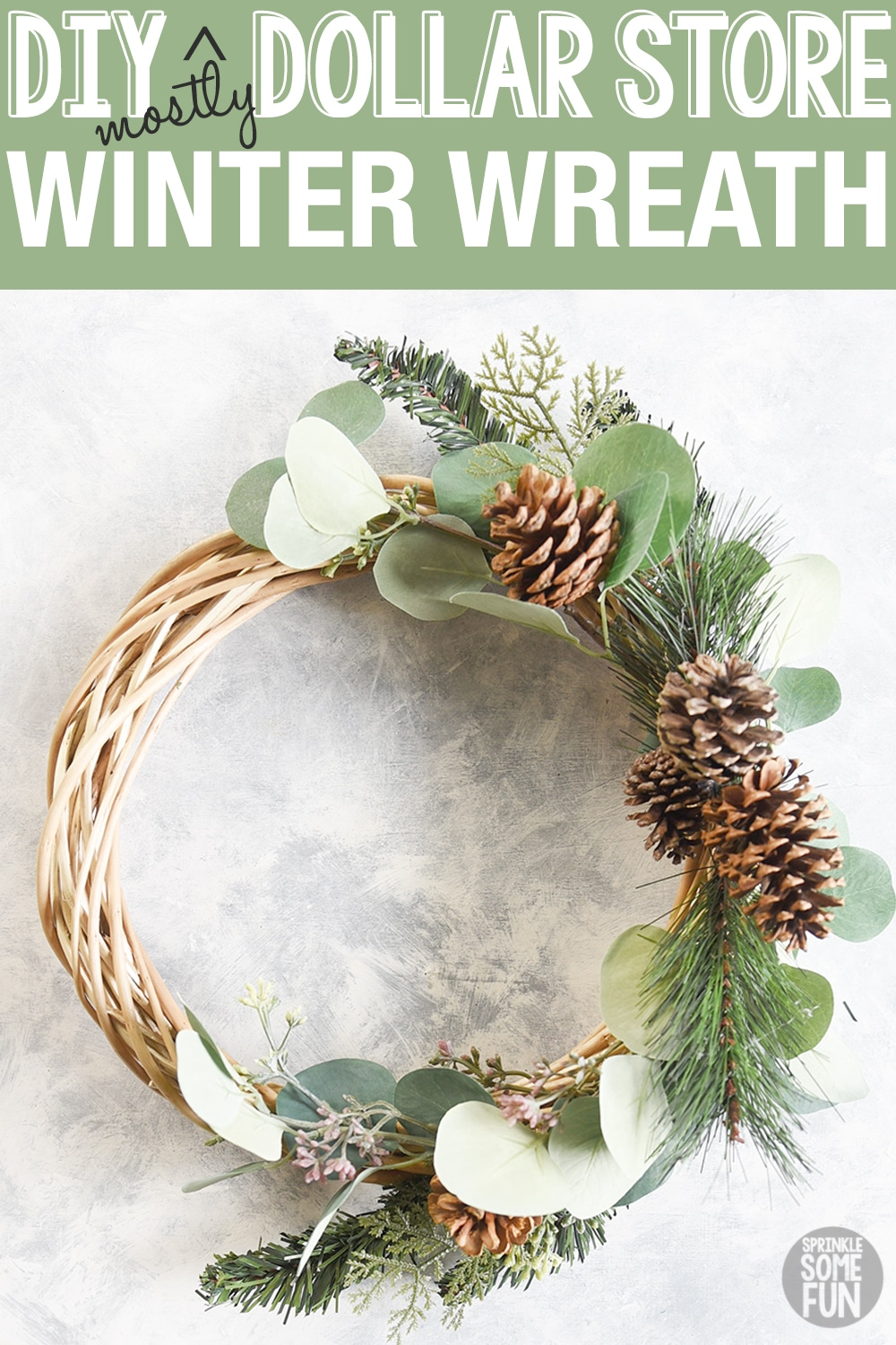 DIY Winter Wreath Dollar Store