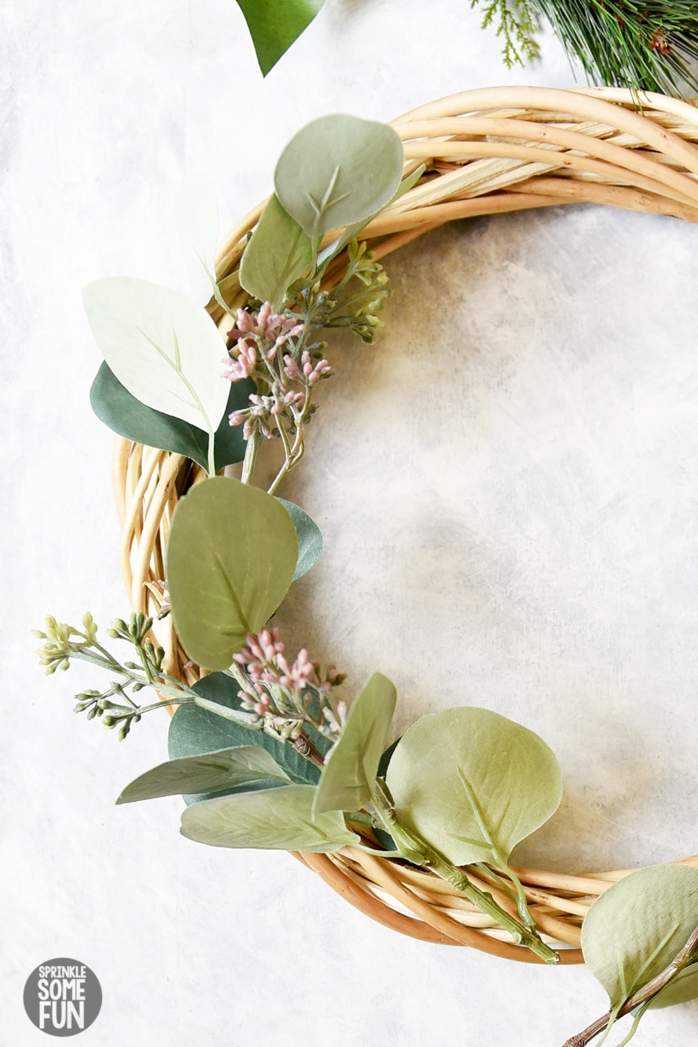 DIY eucalyptus winter wreath