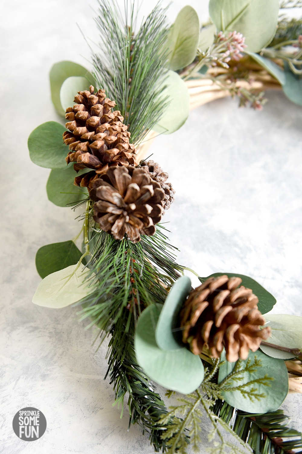 Pinecone evergreen and eucalyptus wreath DIY