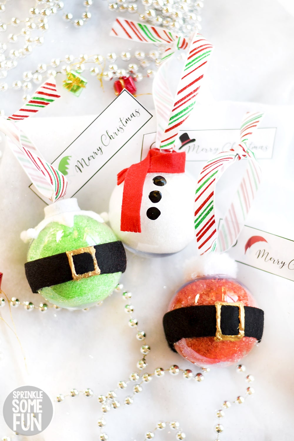 Bath Salt Ornaments with Snowman, Elf and Santa decorations