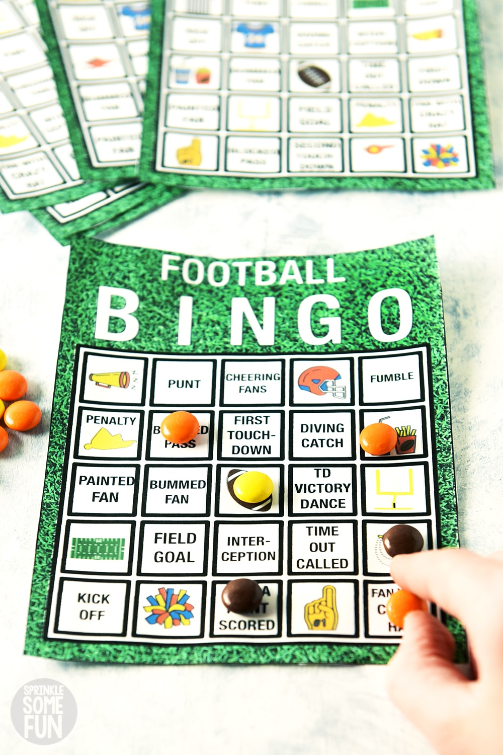 Free printable football bingo cards