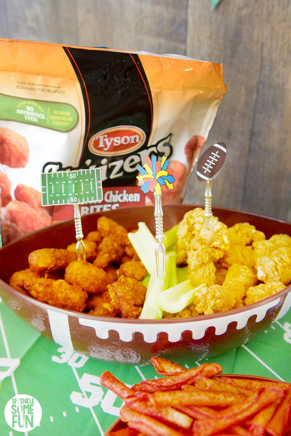 Tyson chicken in football platter