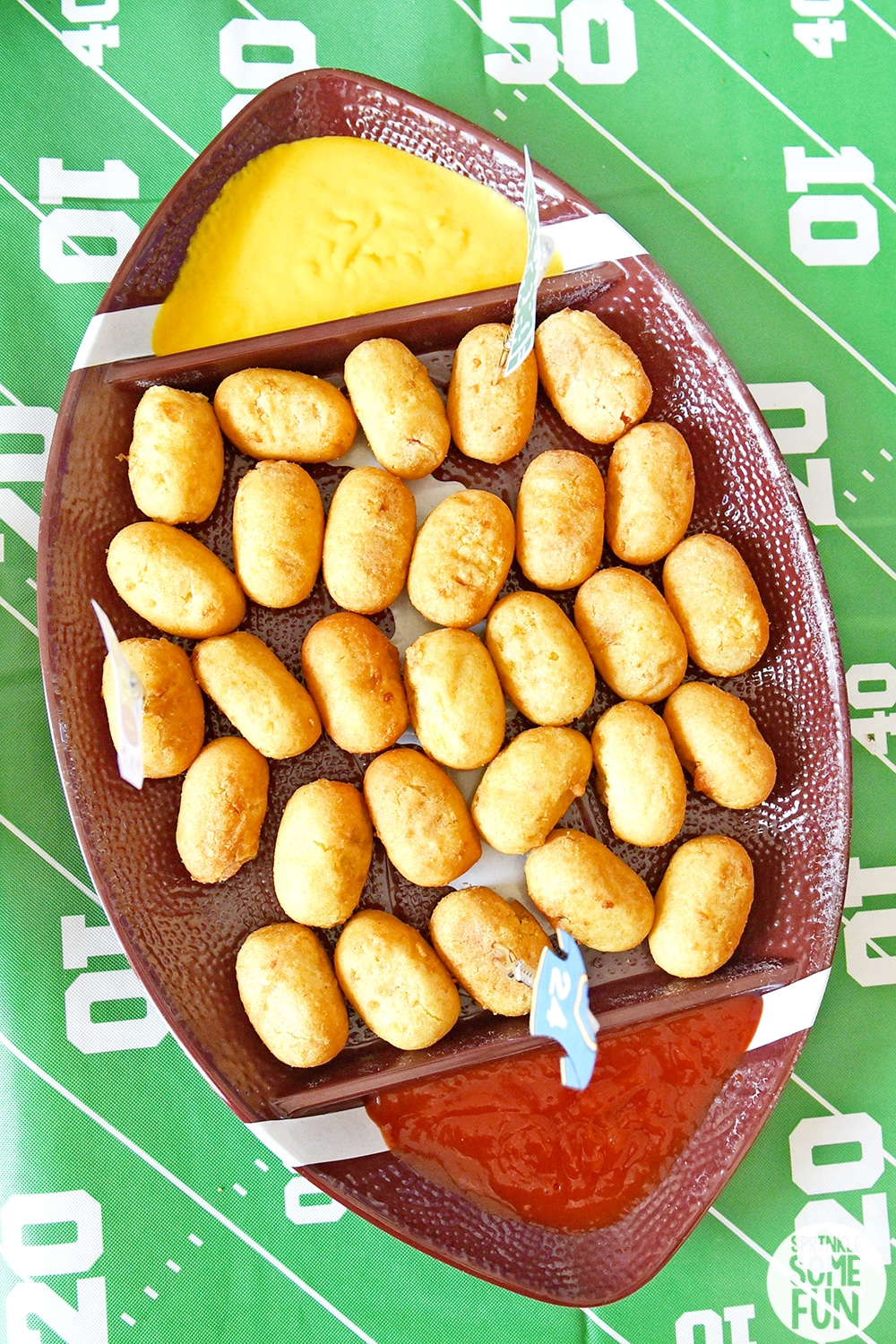 Mini Corn dogs on football platter